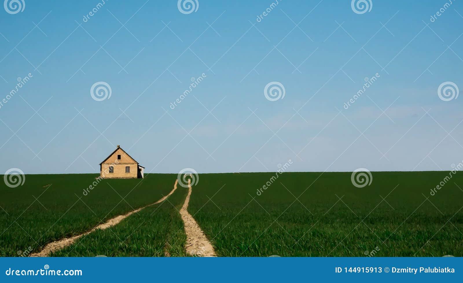 Väg i mitt av ett grönt fält
