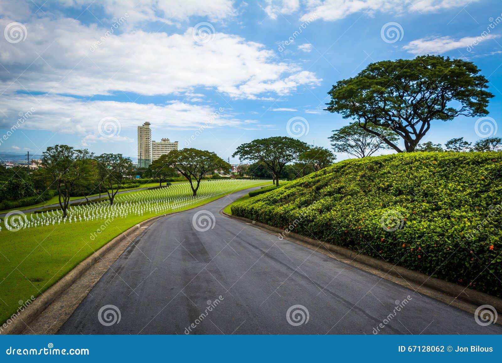 Väg på Manila den amerikanska kyrkogården & minnesmärken, i Taguig, Metr