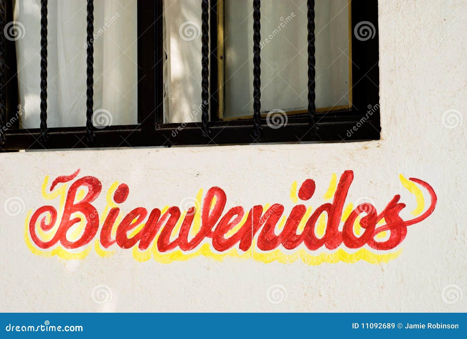 Vägg för tecken för bienvenidosmexico restaurang