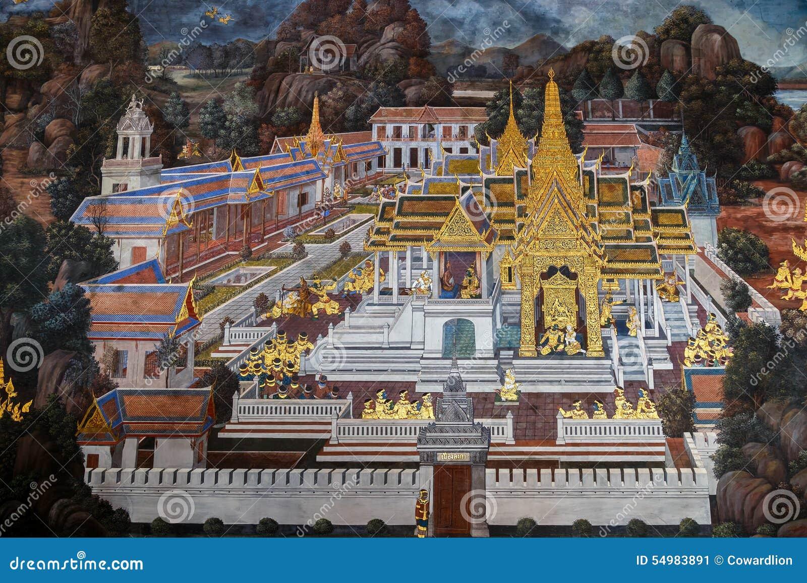 Vägg- målningar på Wat Phra Kaew, Bangkok