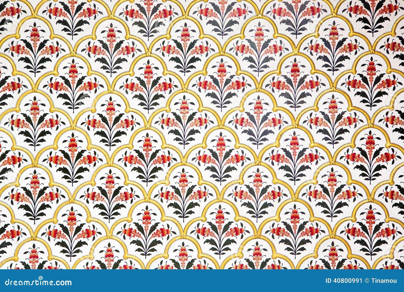 Väggen dekorerade rikt i den Bikaner slotten, Indien