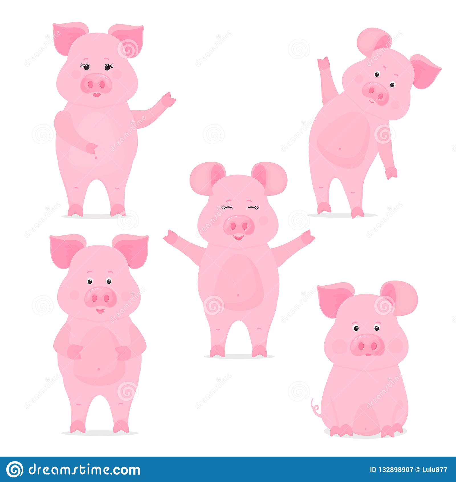 Väggkalender för 2019 från söndag till lördag Kinesiskt nytt år av det gula jordsvinet gulligt piggy