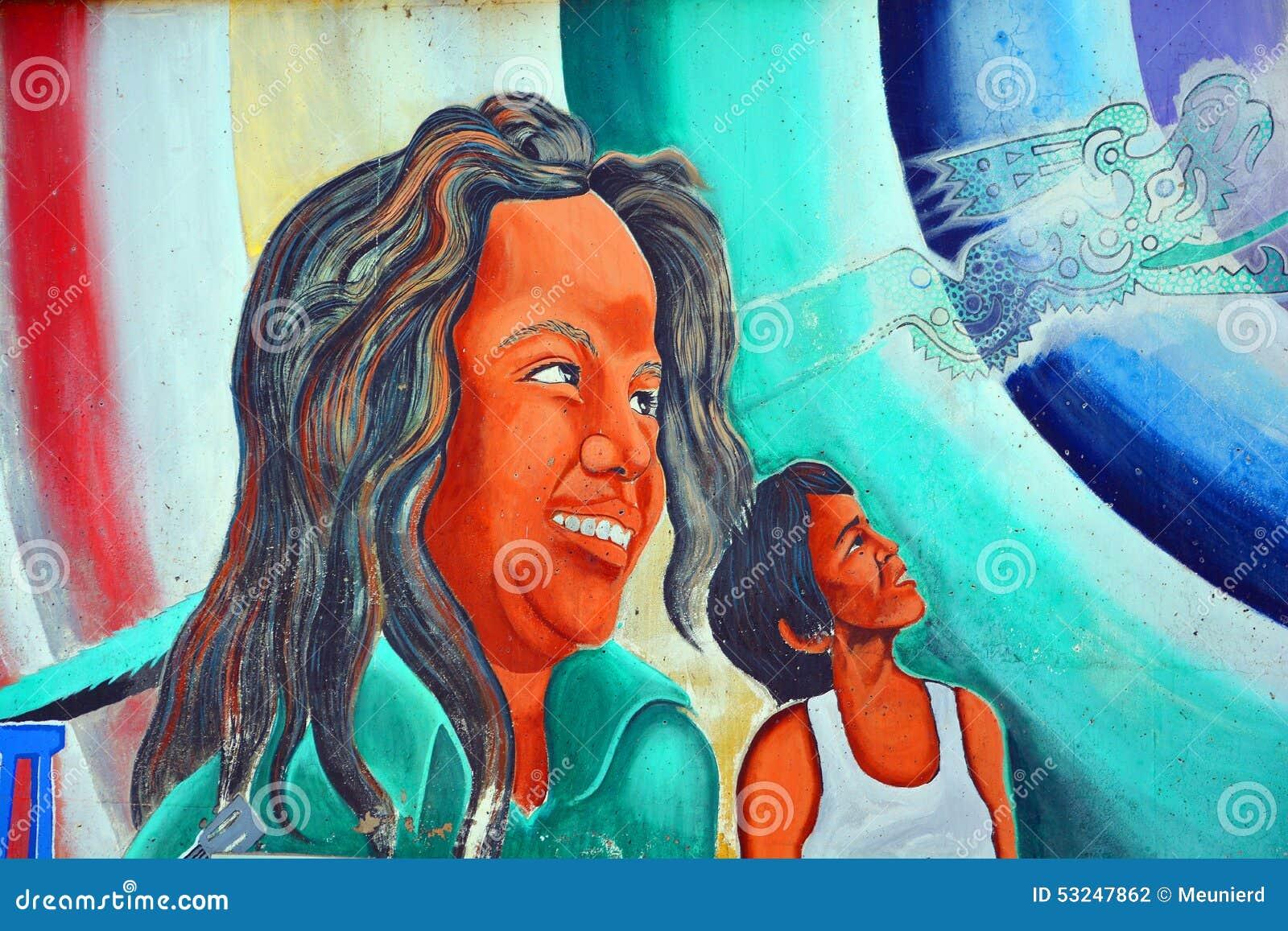 Väggmålningen berättar berättelsen av mexikanamerikanfolk