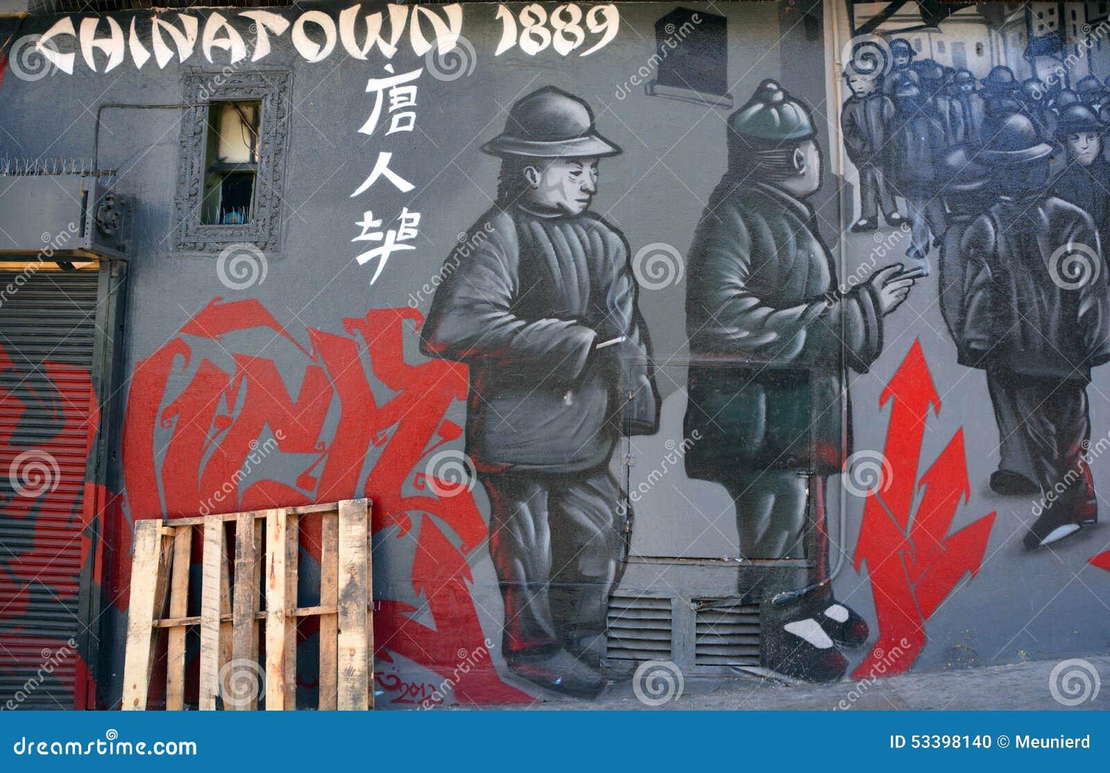 Väggmålningen berättar berättelsen av San Francisco chinatown