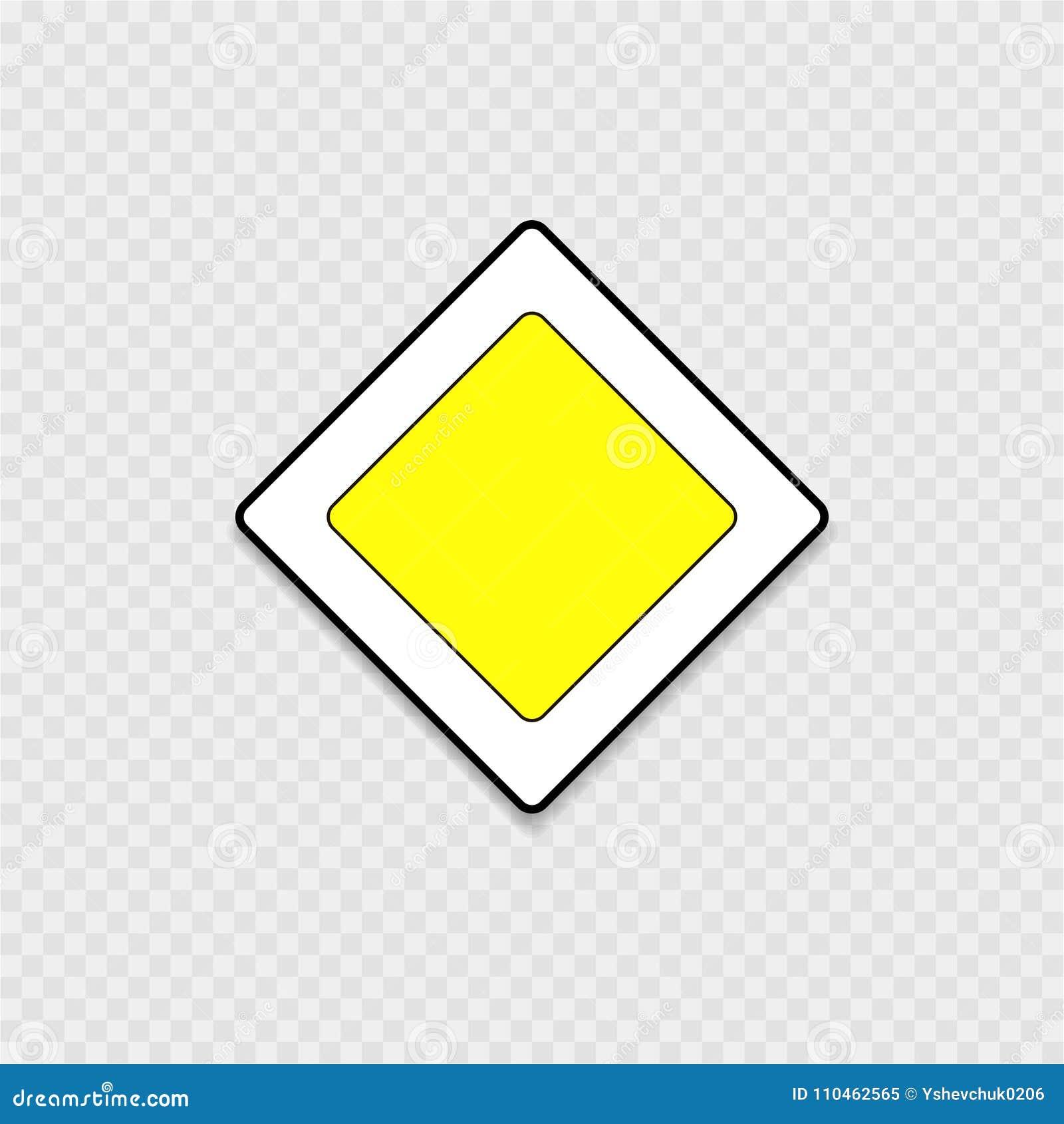 Vägmärke huvudvägen på en grå bakgrund