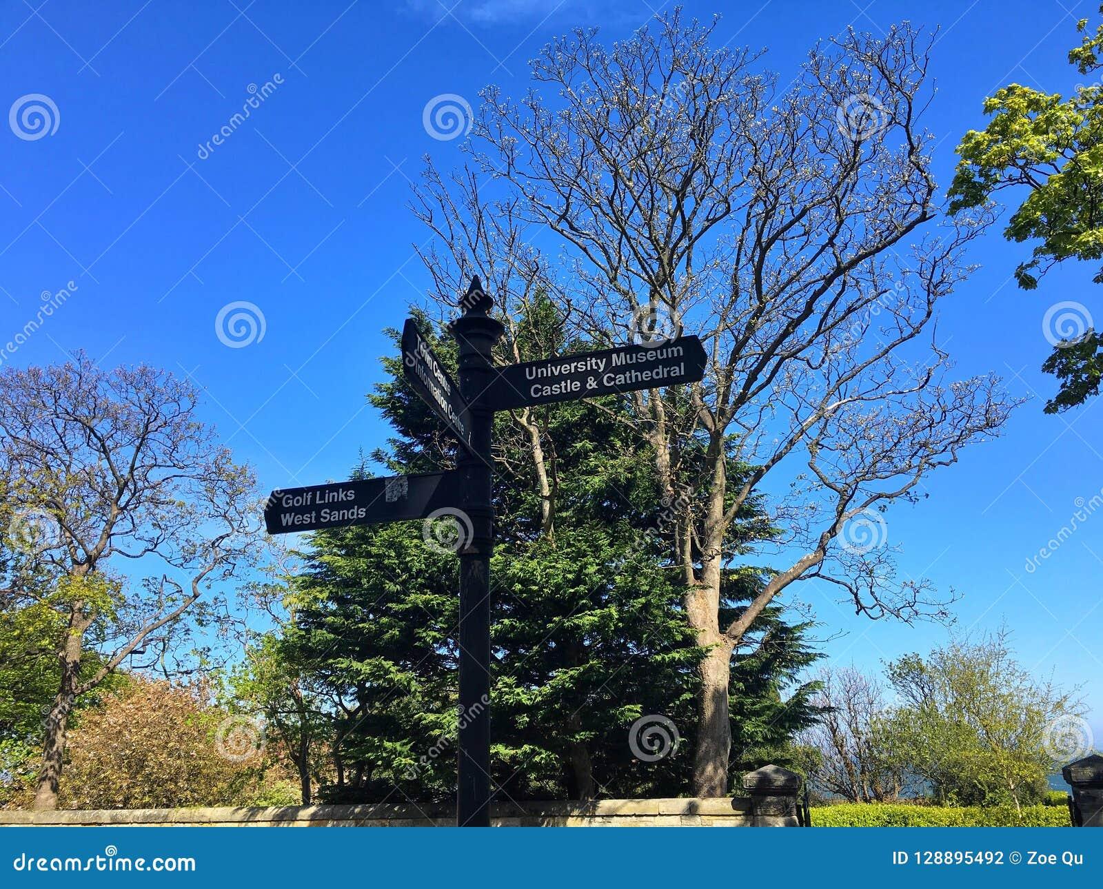 Vägmärke i Stirling, Skottland