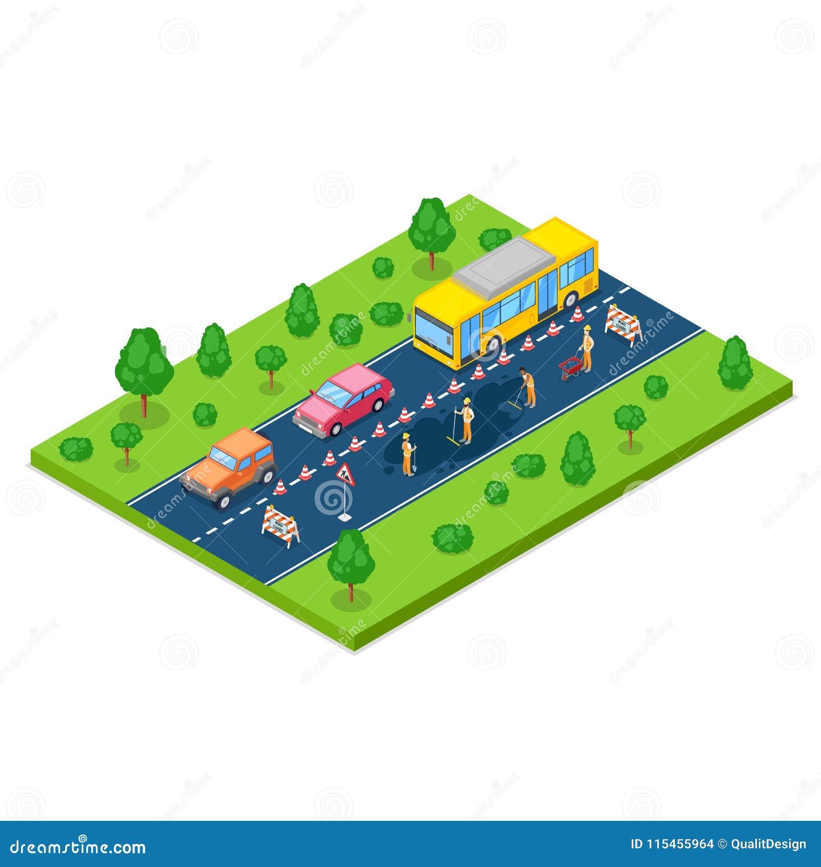 Vägreparation, roadworks och konstruktionsbegrepp Isometrisk illustration för vektor 3d Arbetare asfalterar vägen