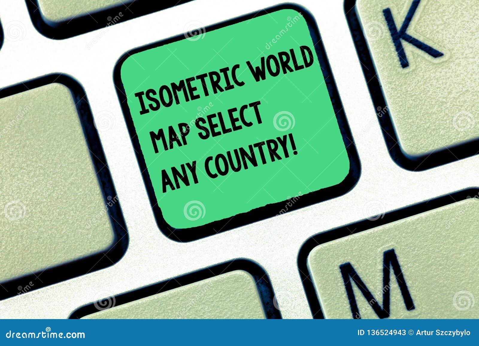 Väljer den isometriska världskartan för ordhandstiltext något land Affärsidé för för apparattangentbord för gps global placera mo