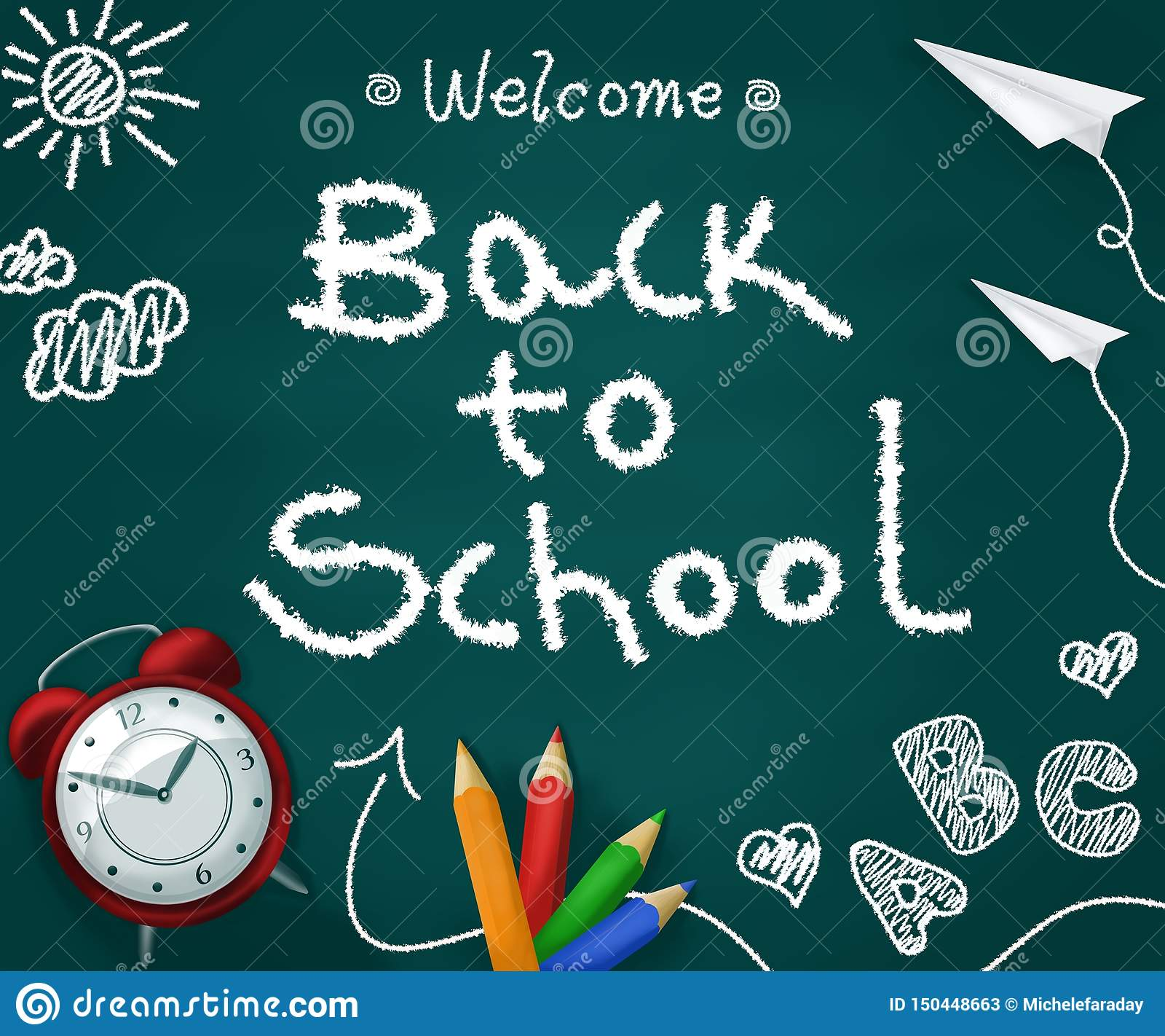 Välkommen baksida till skola i en svart tavla med realistiska tillförsel tillbaka begreppsskola till