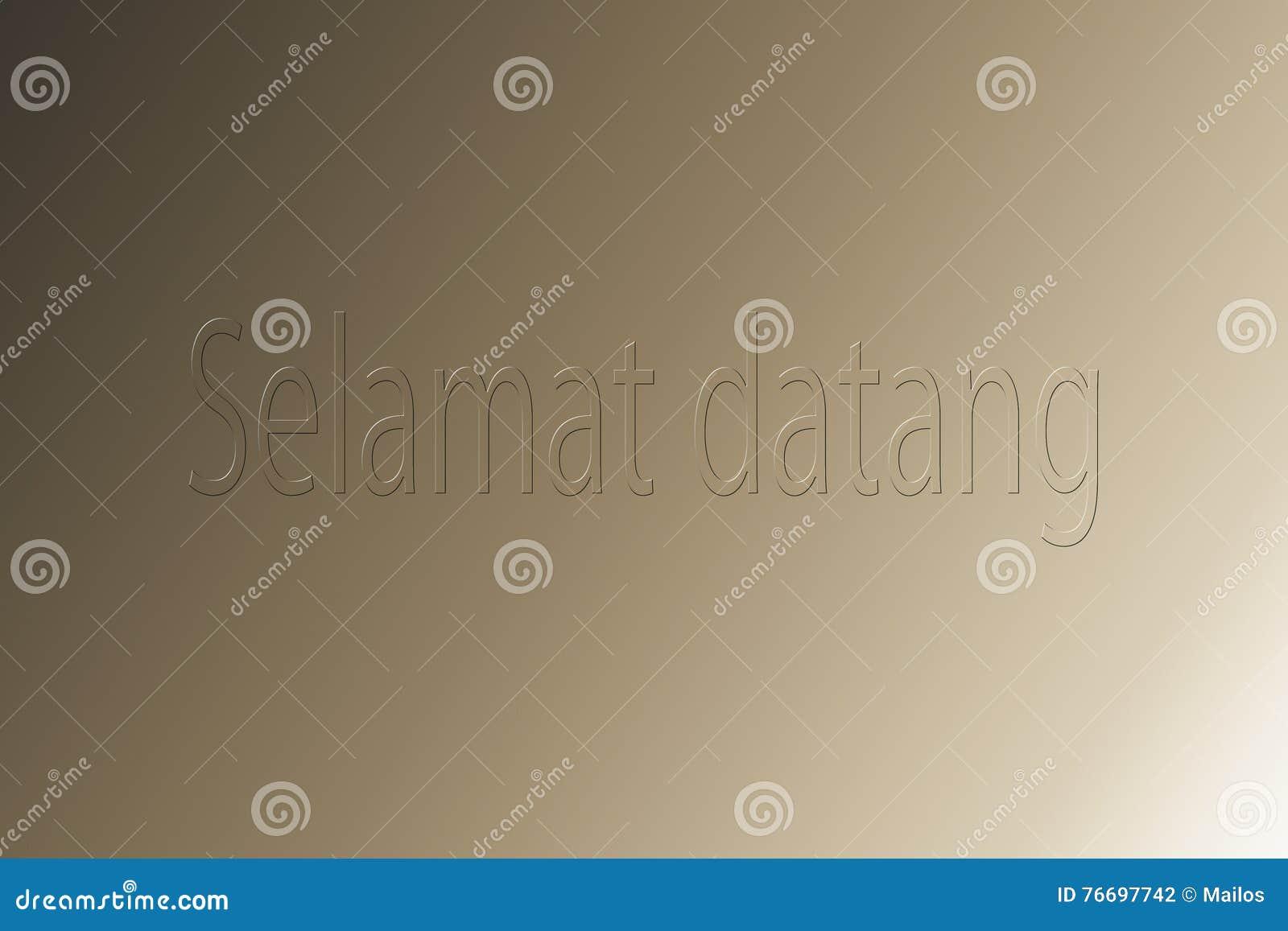 Välkommen text i det indonesiska språket som förstår ett begrepp av t