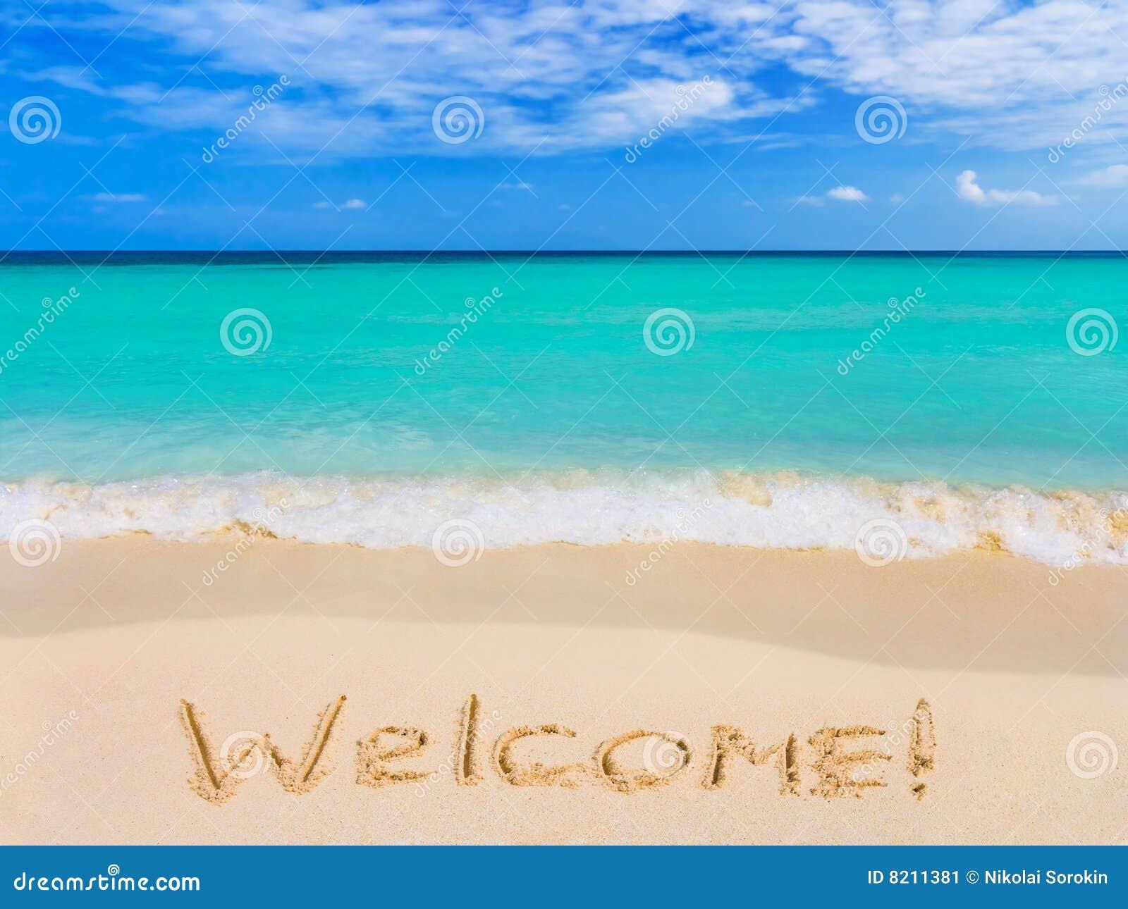 Välkommet ord för strand
