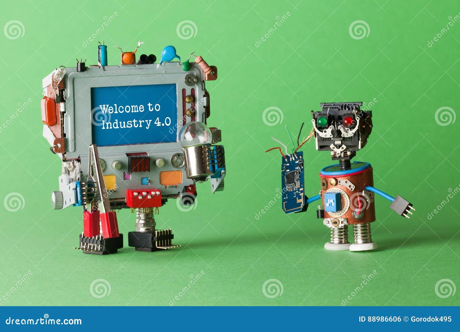 Välkomna till bransch 4 system för 0 robotic cyber, smart teknologi och automationprocessen Abstrakta elektroniska leker med