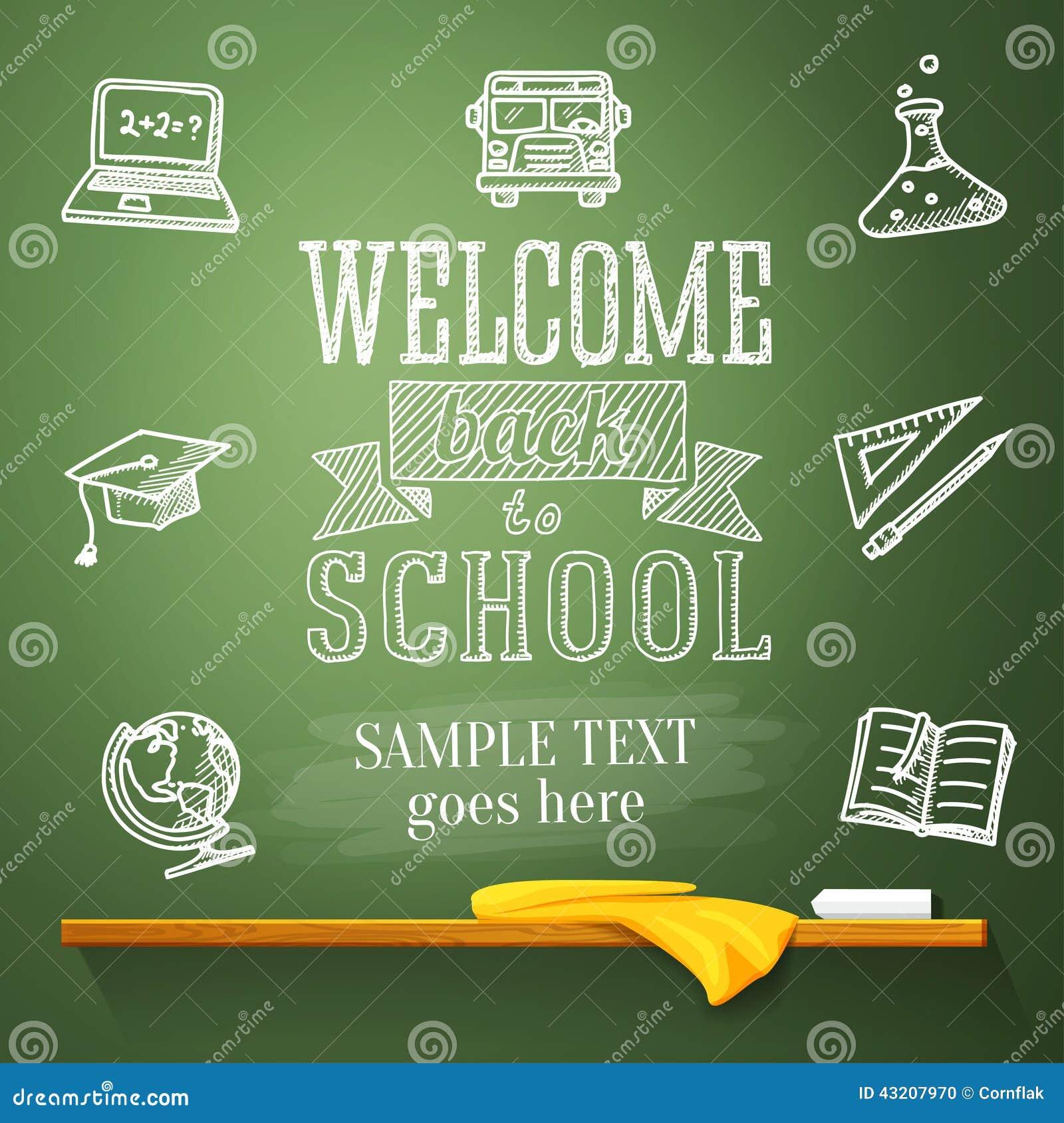 Download Välkomna Tillbaka Till Skolameddelandet På Den Svart Tavlan Med Vektor Illustrationer - Illustration av symbol, anteckningsbok: 43207970