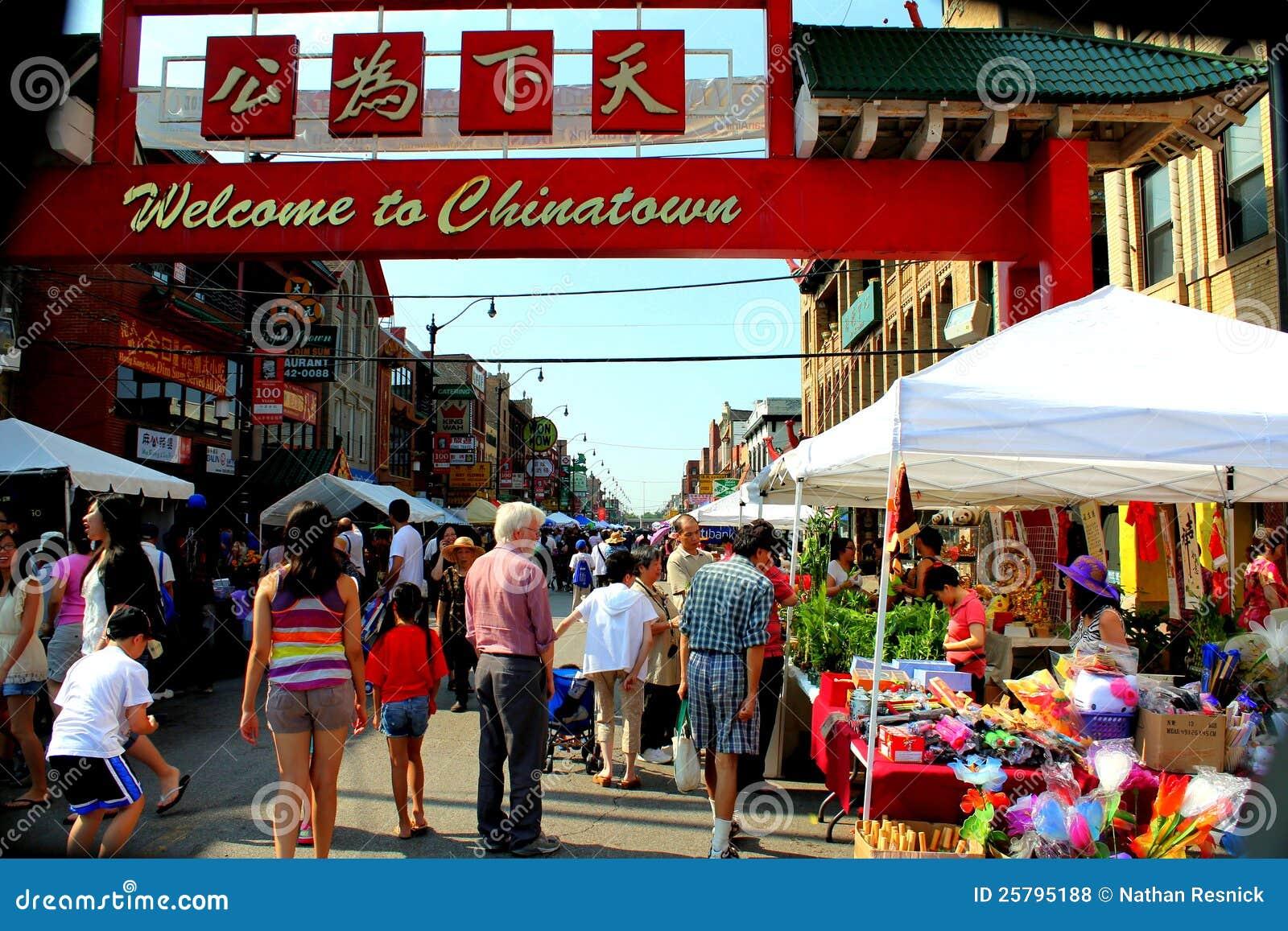 Välkomnande till chinatown CHICAGO, ILLINOIS JULI 2012