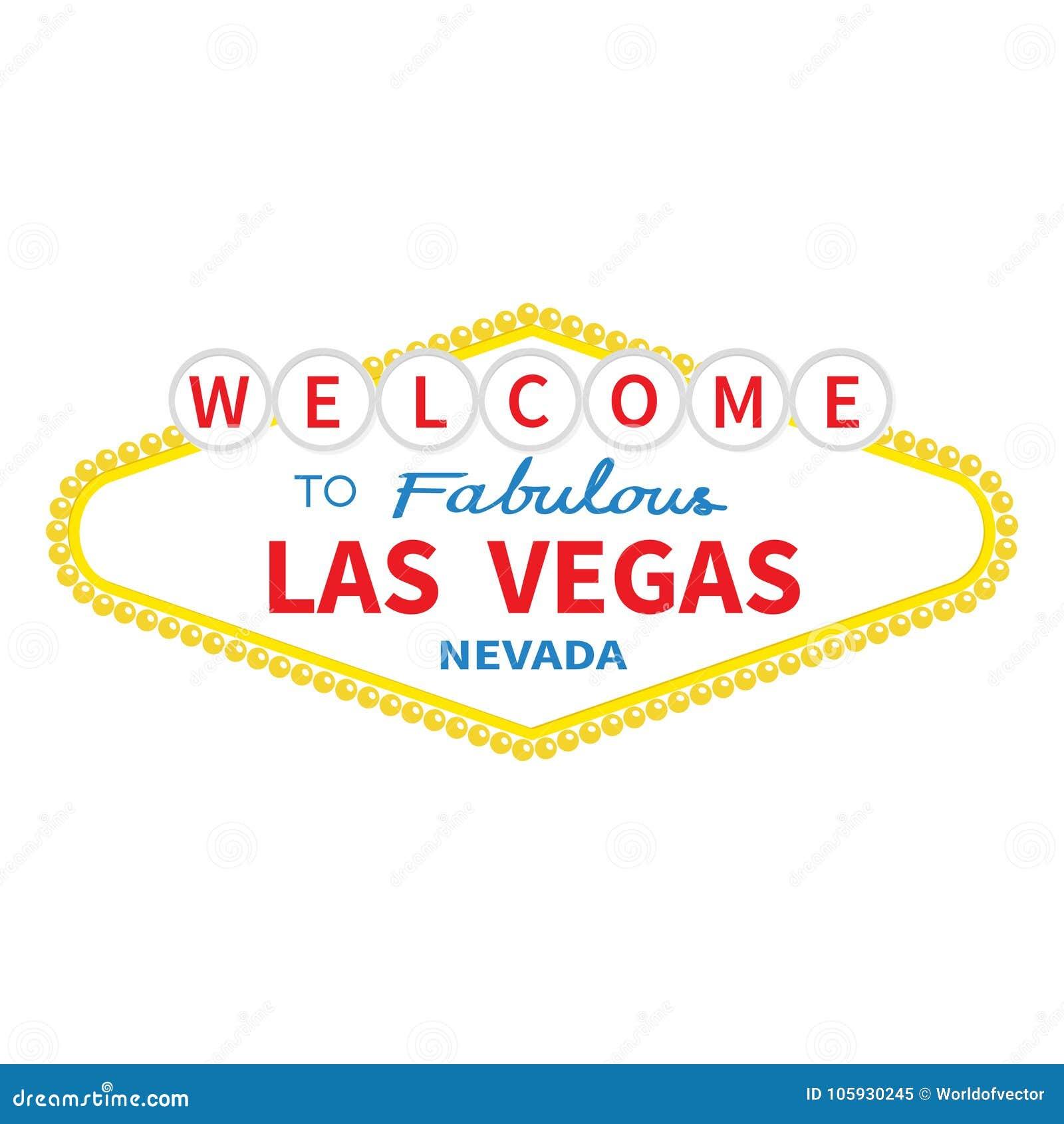 Välkomnande till den Las Vegas teckensymbolen Klassiskt retro symbol Nevada siktshowplace Plan design Vit bakgrund isolerat