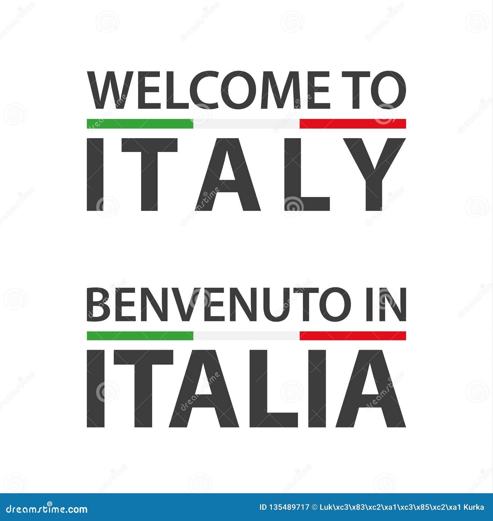 Välkomnande till det Italien symbolet med flaggan, enkel modern italiensk symbol som isoleras på vit bakgrund