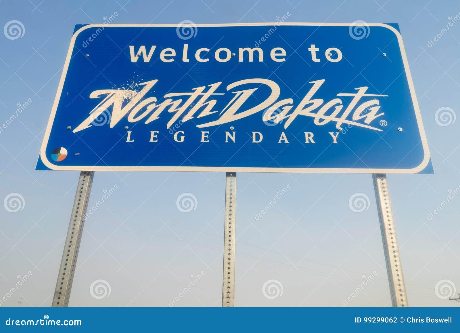 Välkomnande till det legendariska tecknet för North Dakota vägtillträde