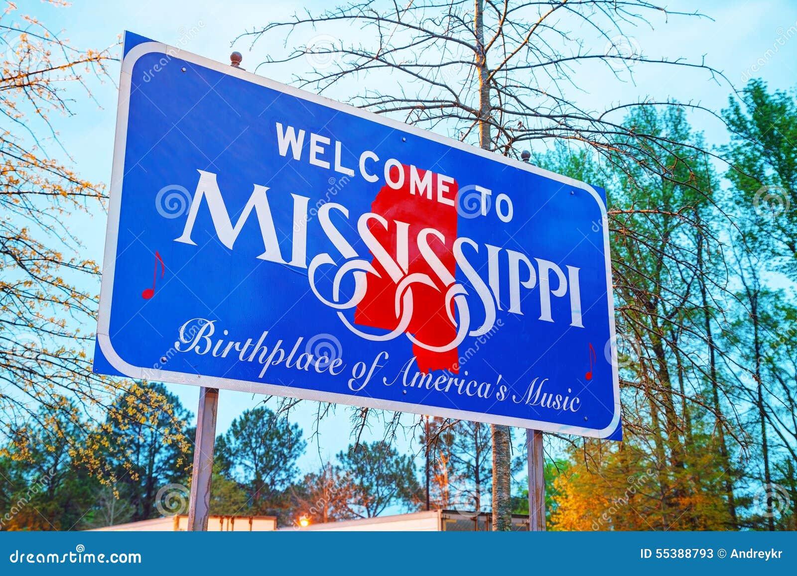Välkomnande till det Mississippi tecknet