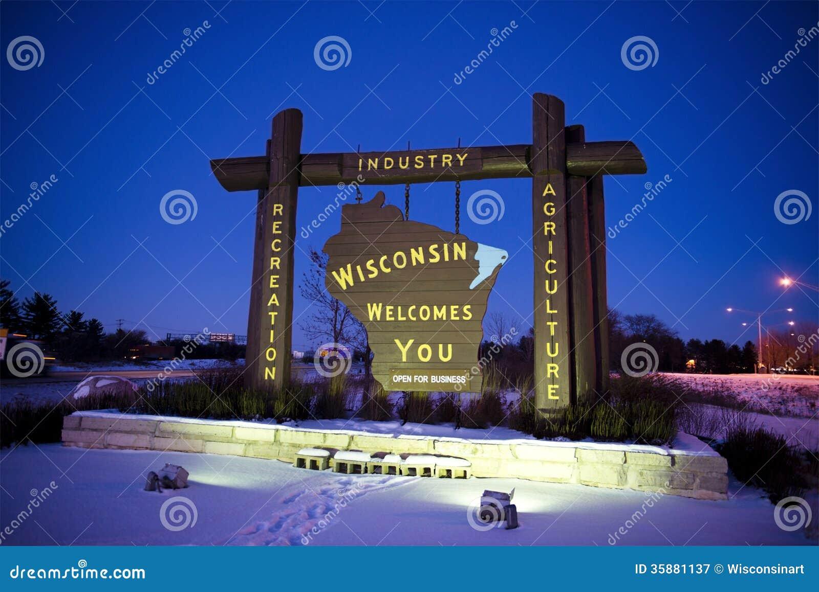 Välkomnande till tillståndet av Wisconsin USA