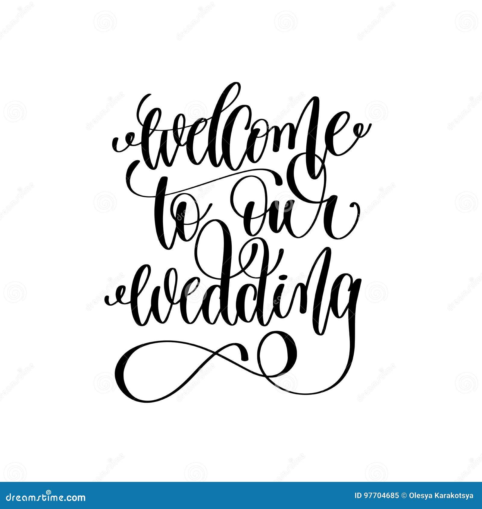 Välkomnande till vår för handfärgpulver för bröllop svartvita bokstäver
