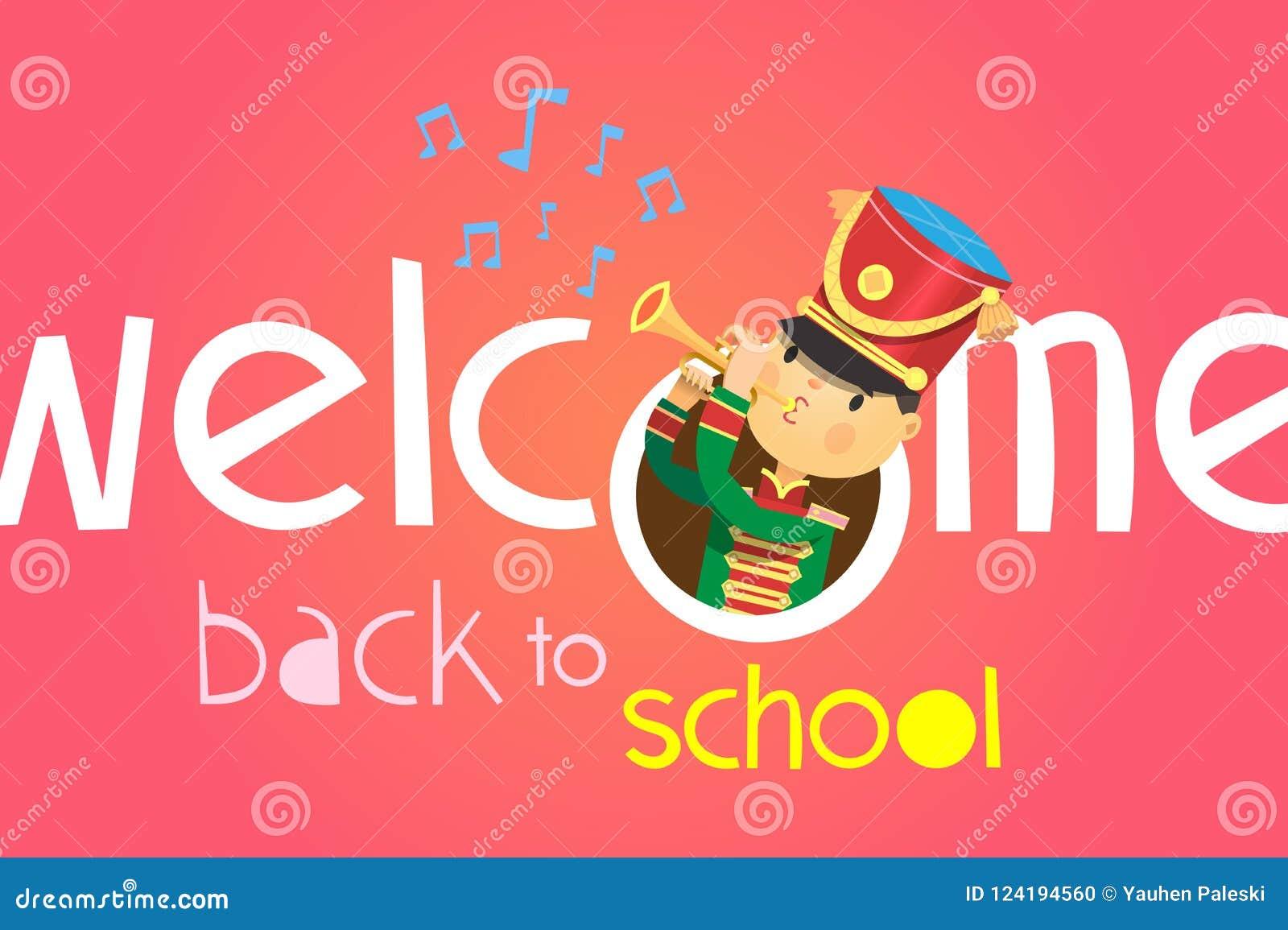 Välkomnande tillbaka till skolaaffischen Med en pojke som spelar på trumpeten i likformig av likformign för skolamusikband