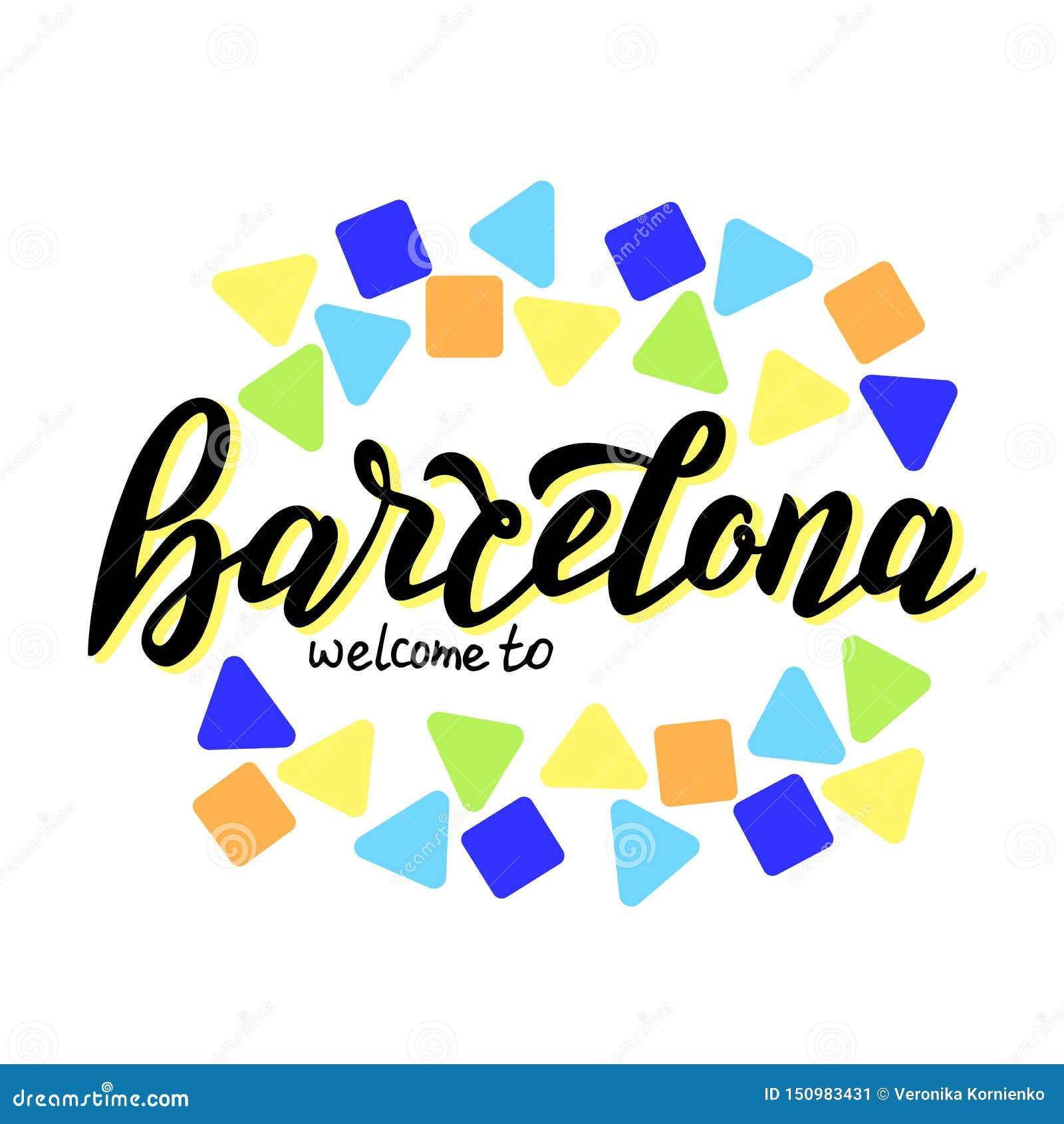 Välkomnandet till den Barcelona handen - gjorde typografitext Modern kalligrafilogo Turismloppbaner