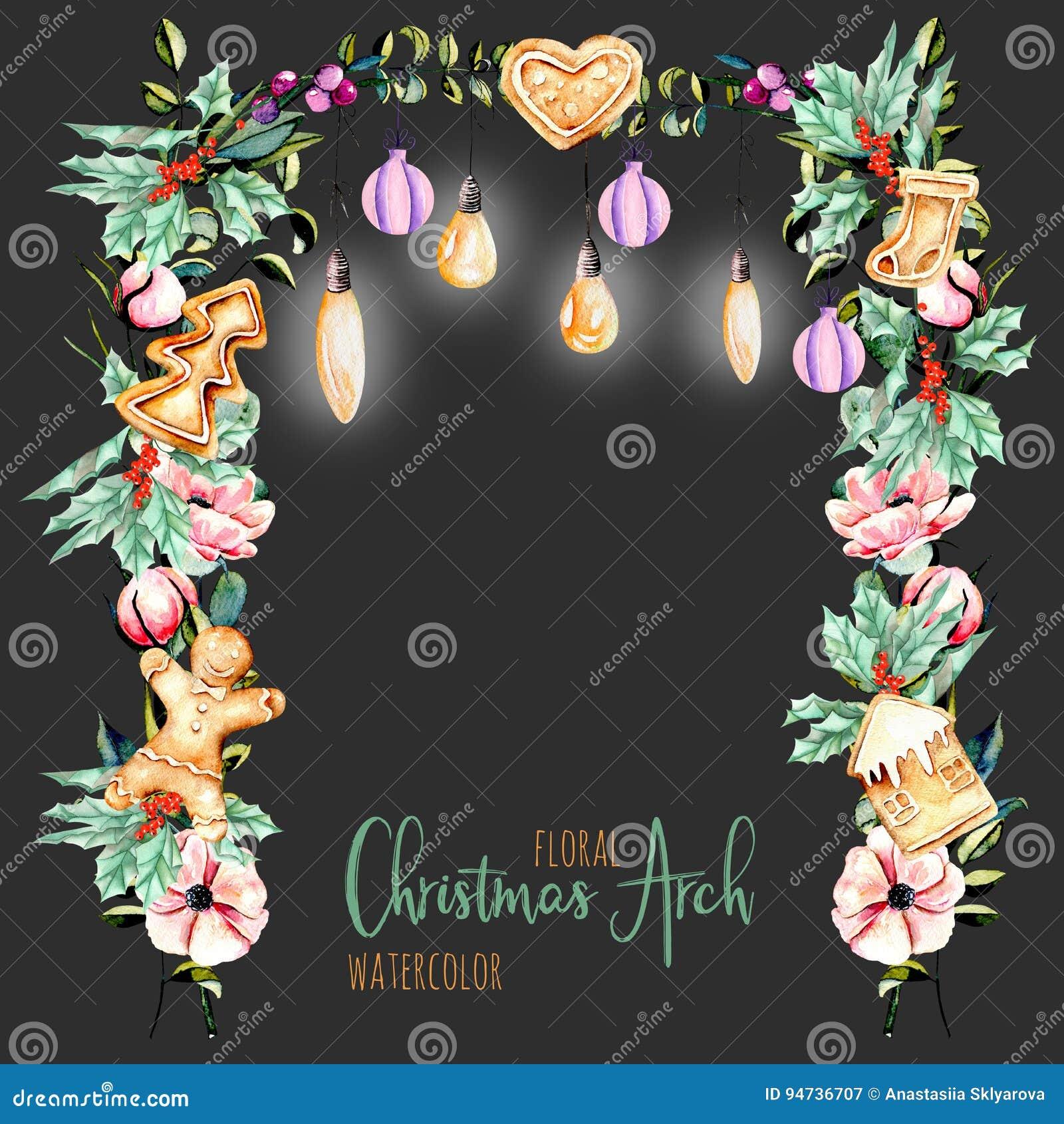 Välva sig blom- jul för vattenfärg med hängande lampor för feriedesign