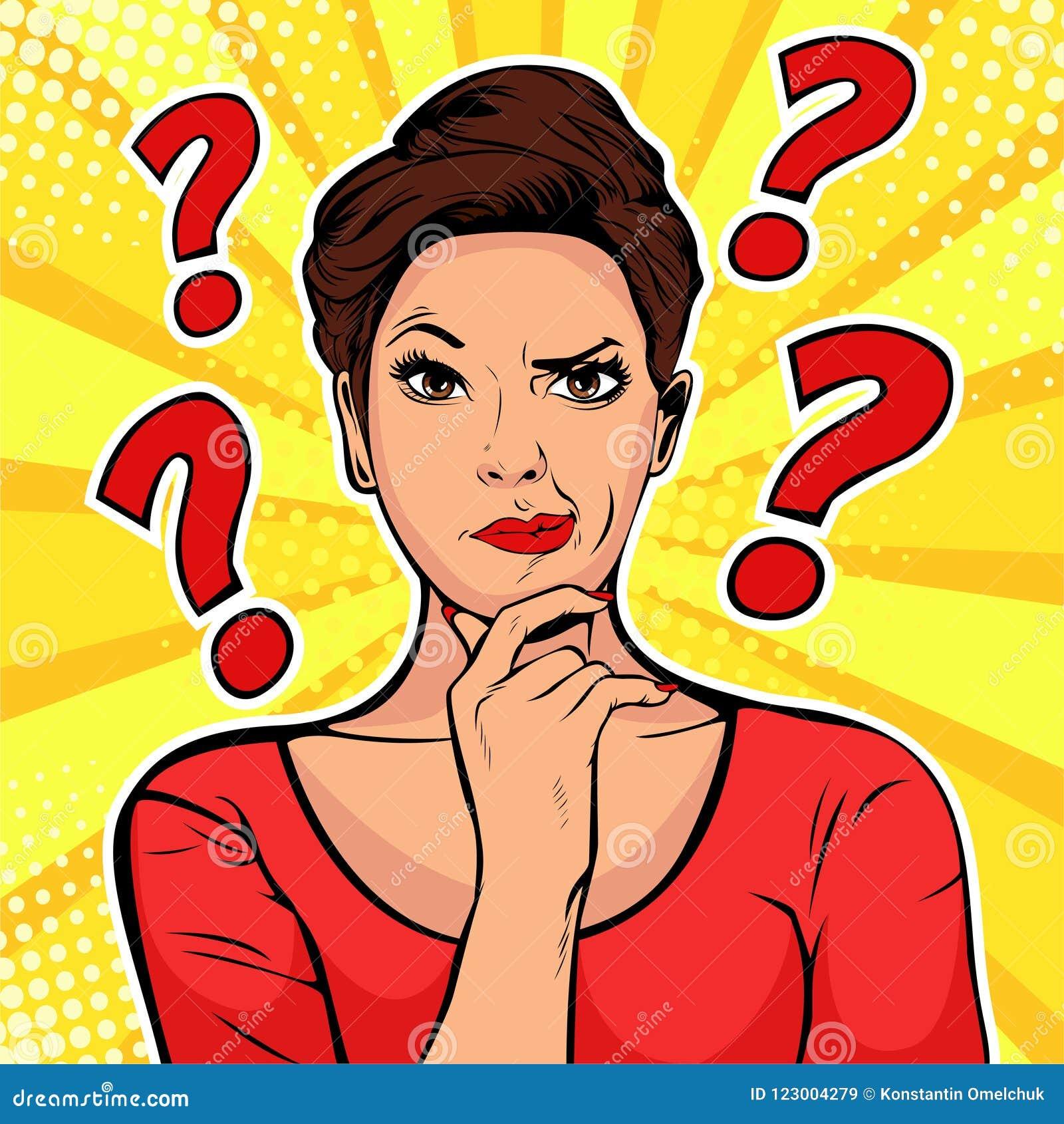 Vänder mot skeptiska ansiktsuttryck för kvinna med frågefläckar på huvudet Retro illustration för popkonst