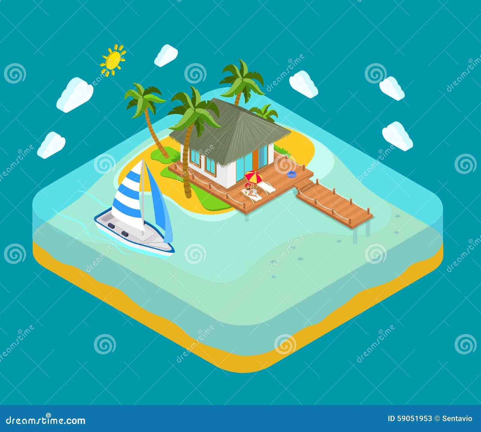 Vändkretsön, havet, strand - resa det isometriska begreppet för semestern