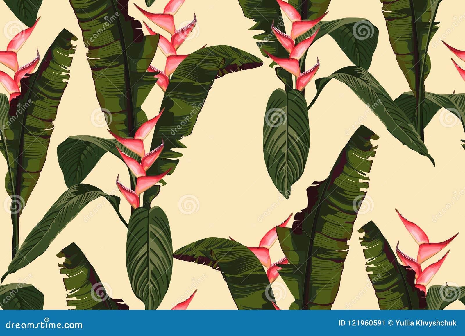 Vändkretssommar som målar den sömlösa vektormodellen med, gömma i handflatan bananbladet och växter Blom- blommor för djungelheli