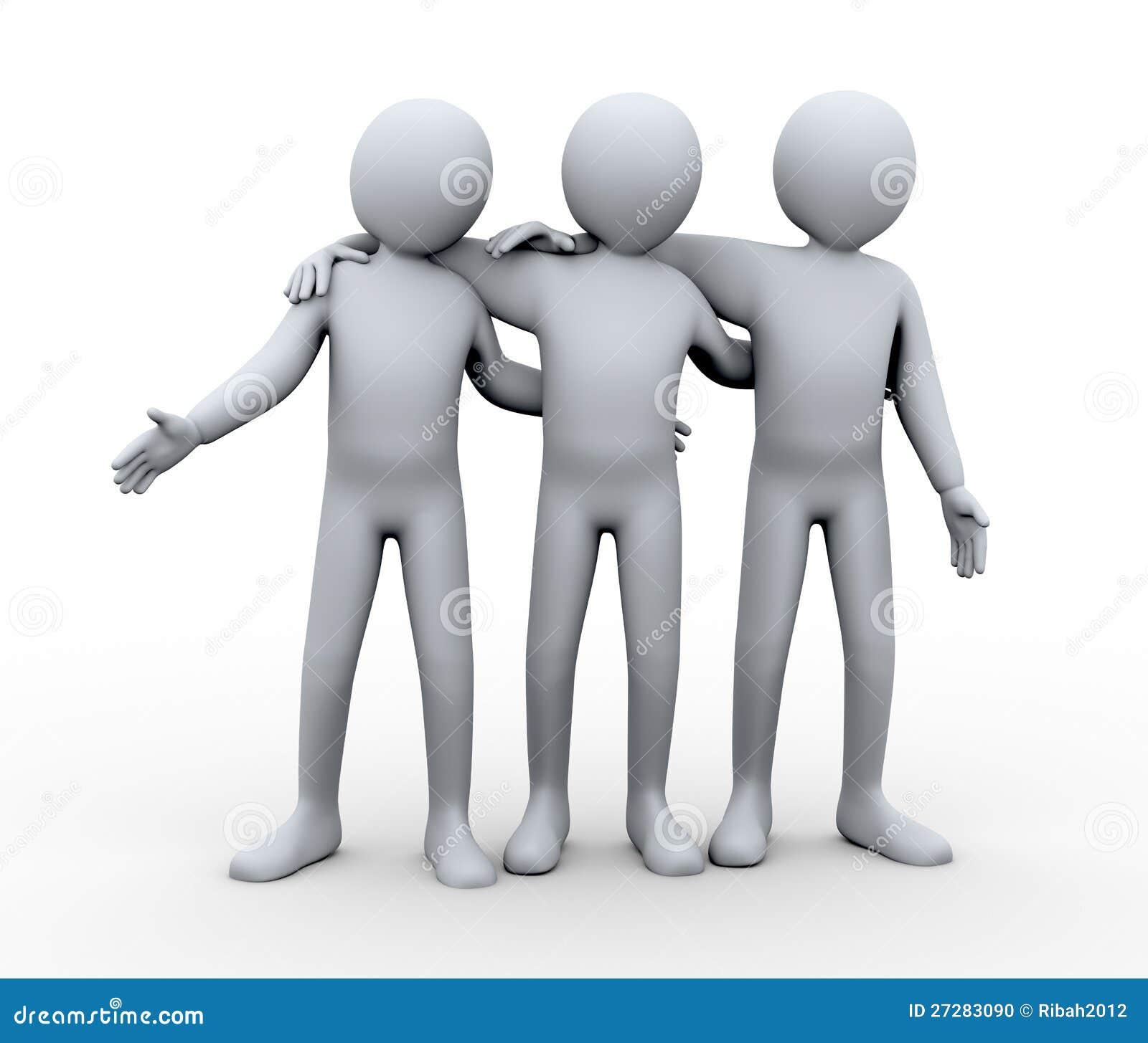 Vänlig grupp 3d av personen