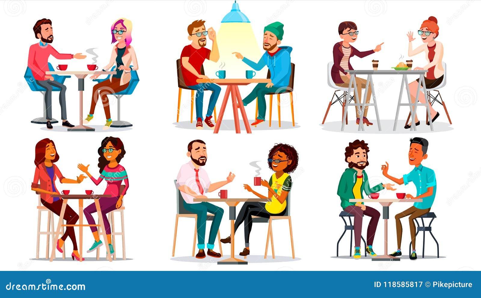Vänner i kafévektor Man kvinna, pojkvän, flickvän Sitta tillsammans och dricka kaffe Bistroer kafeteria
