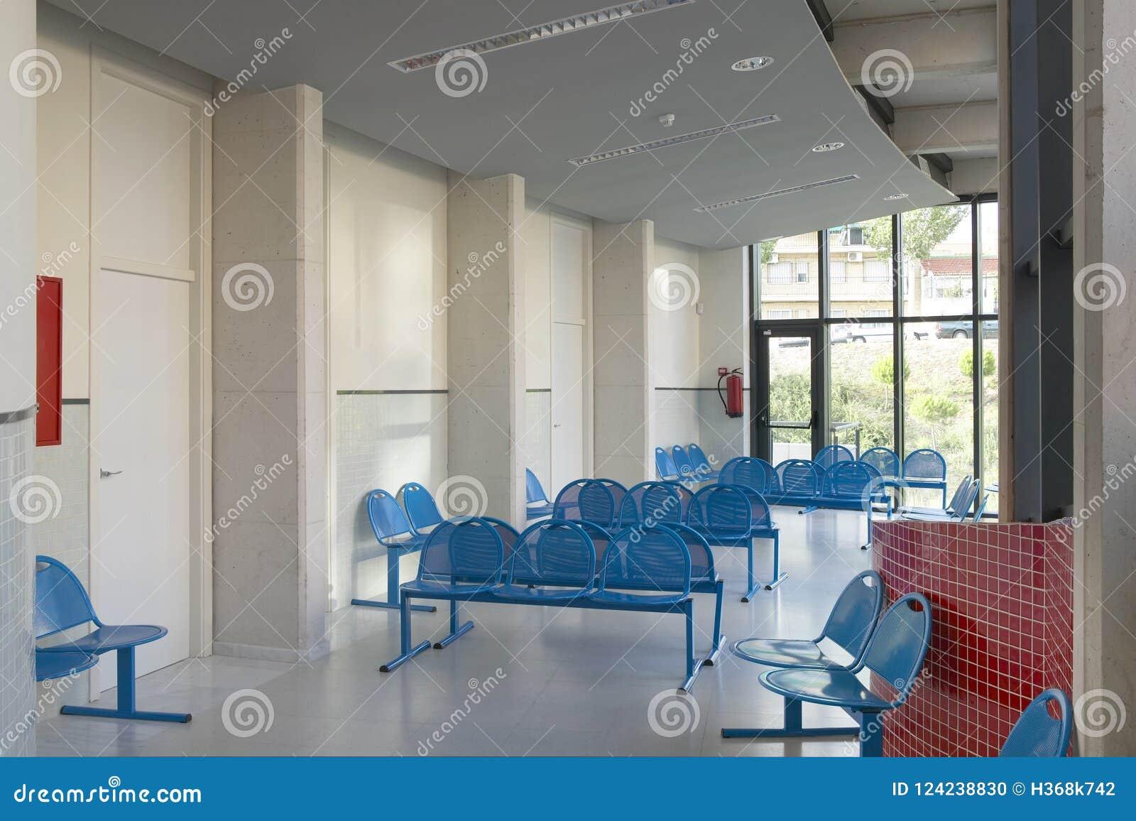 Väntande område för offentlig byggnad Inre detalj för sjukhus inget