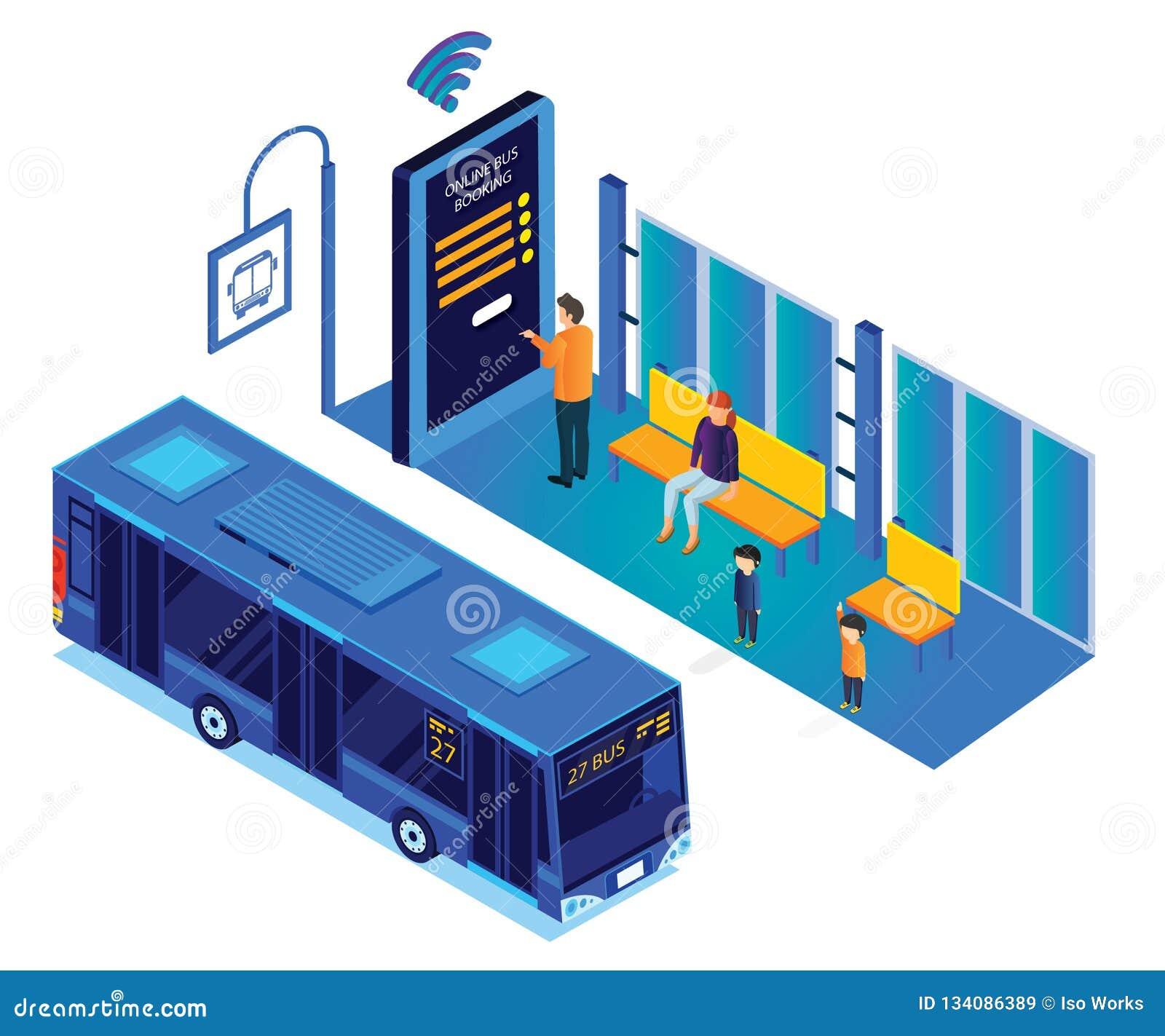 Väntande på buss för folk, medan personen bokar det online-isometriska konstverket för bussbiljetter