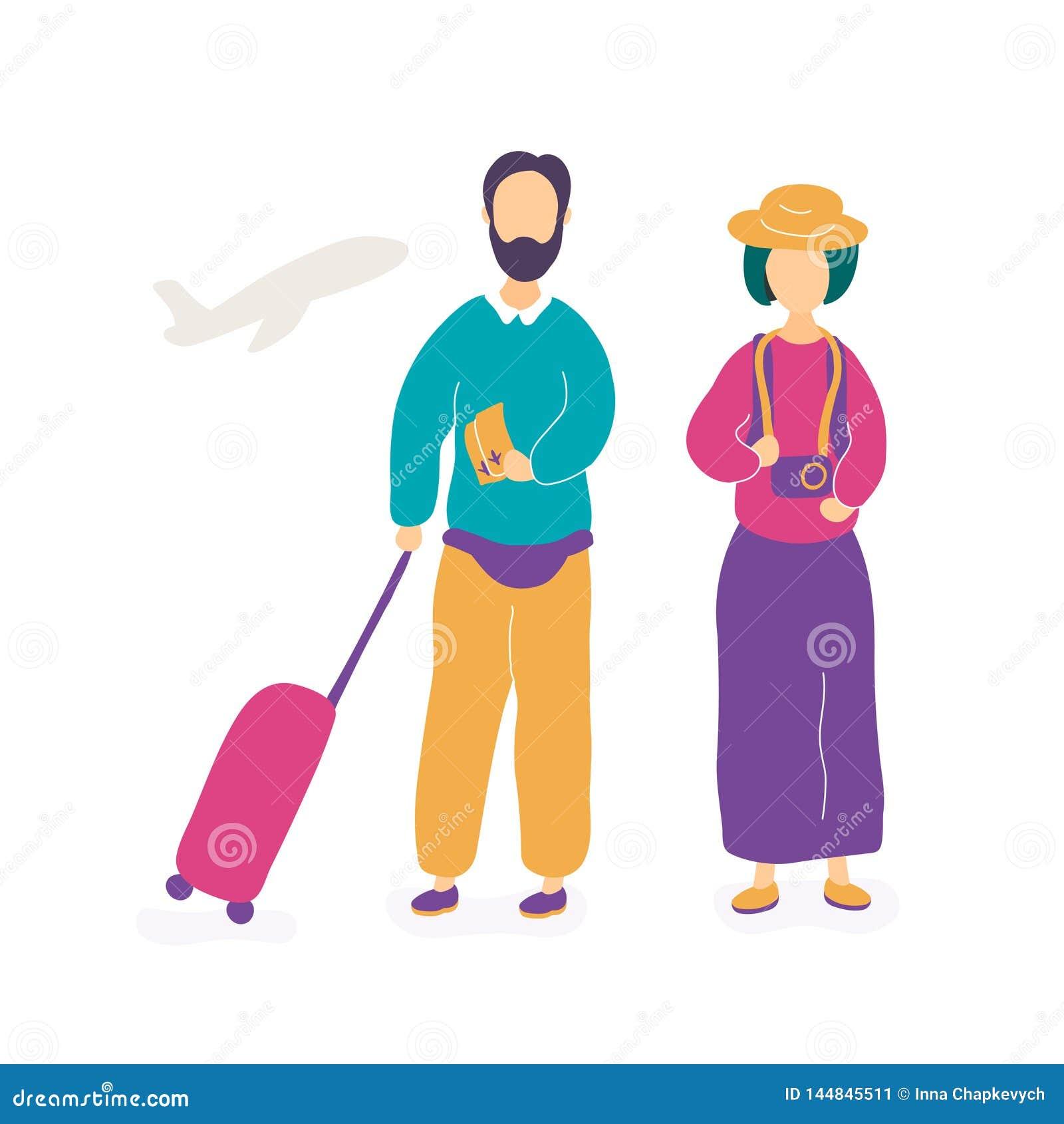V?ntande p? flyg f?r unga par i flygplats