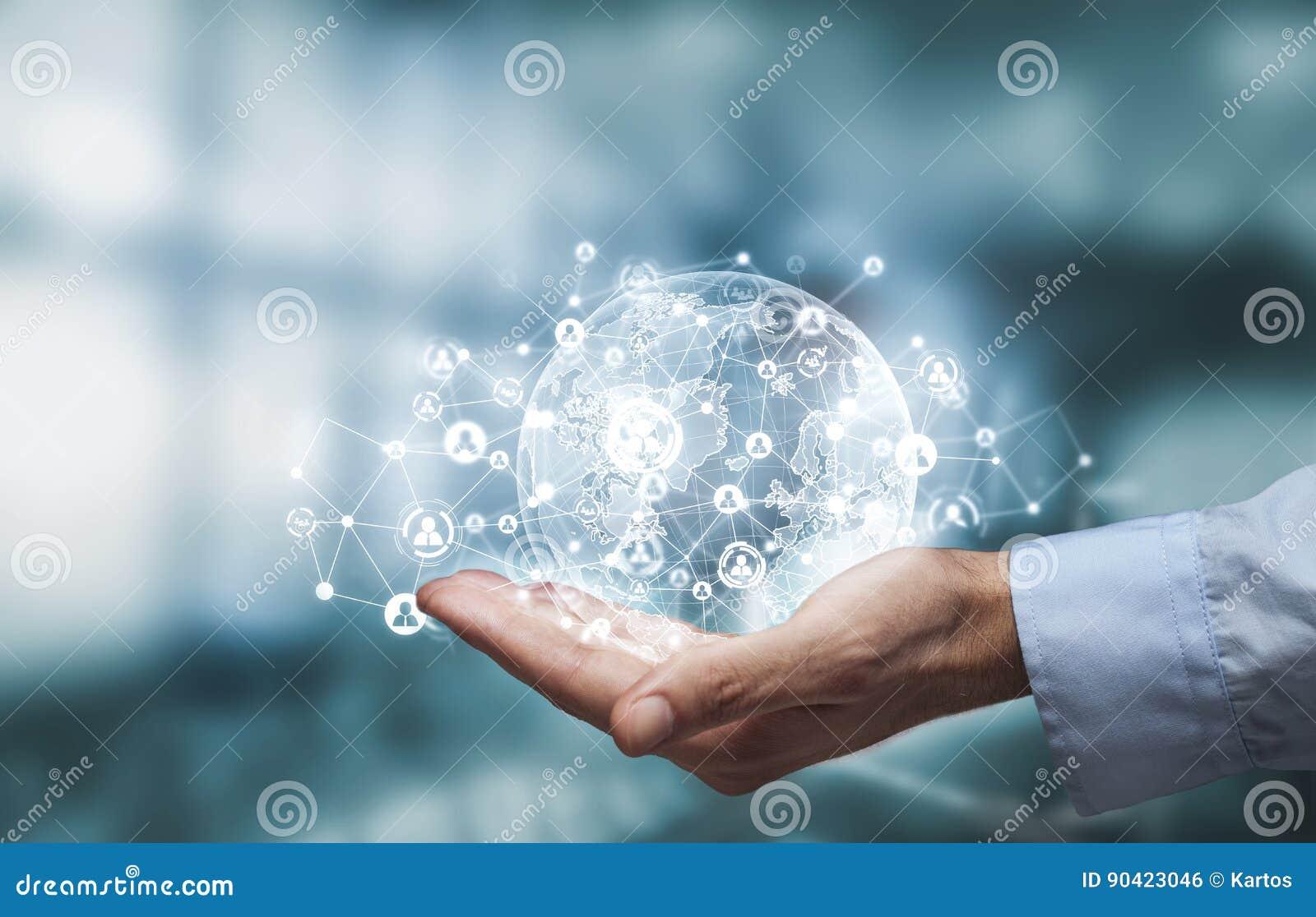 Värld med det digitala sociala massmedianätverksdiagrammet