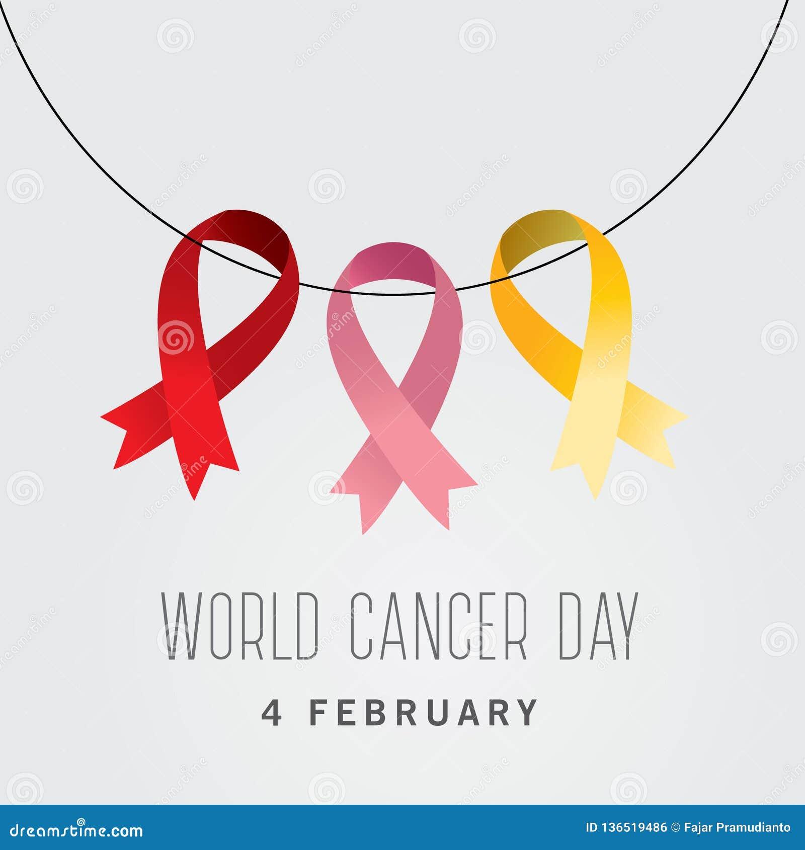 Världscancerdag dag för cancer för malldesignvärld med tre band