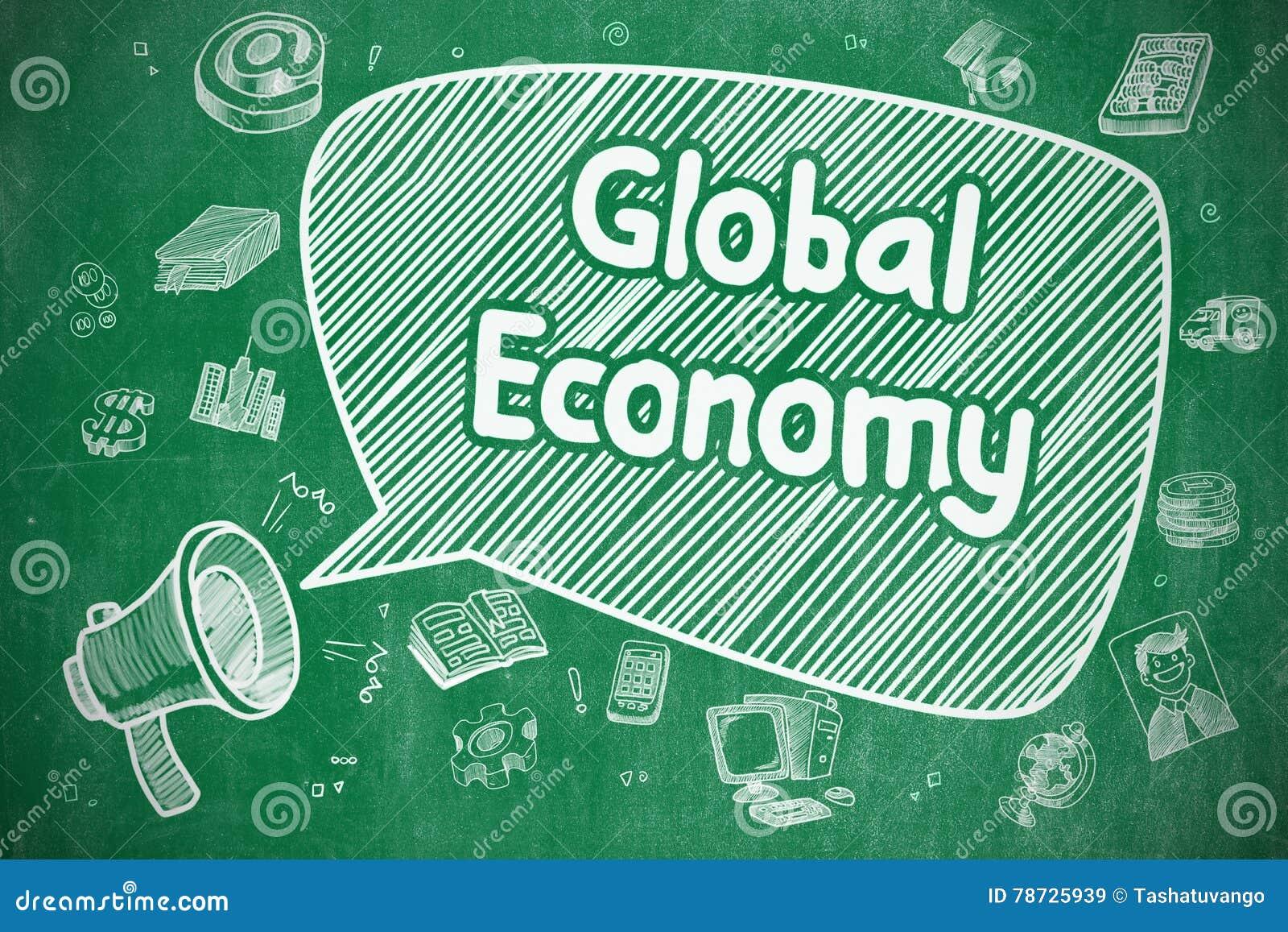 Världsekonomi - klotterillustration på den gröna svart tavlan