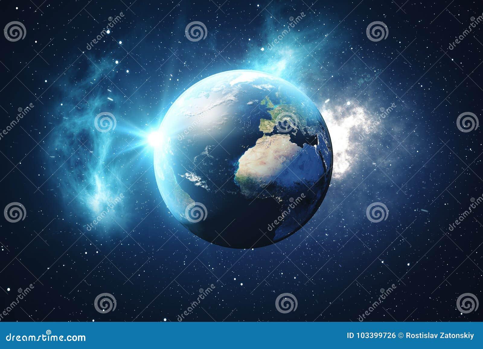 Världsjordklot för tolkning 3D från utrymme i en himmel för natt för visning för stjärnafält med stjärnor och nebulosan sikt för