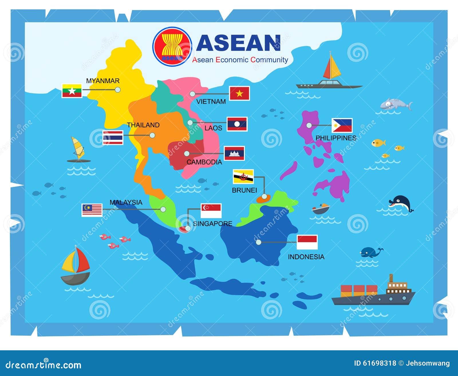 Världskarta för ekonomisk gemenskap för AEC-ASEAN