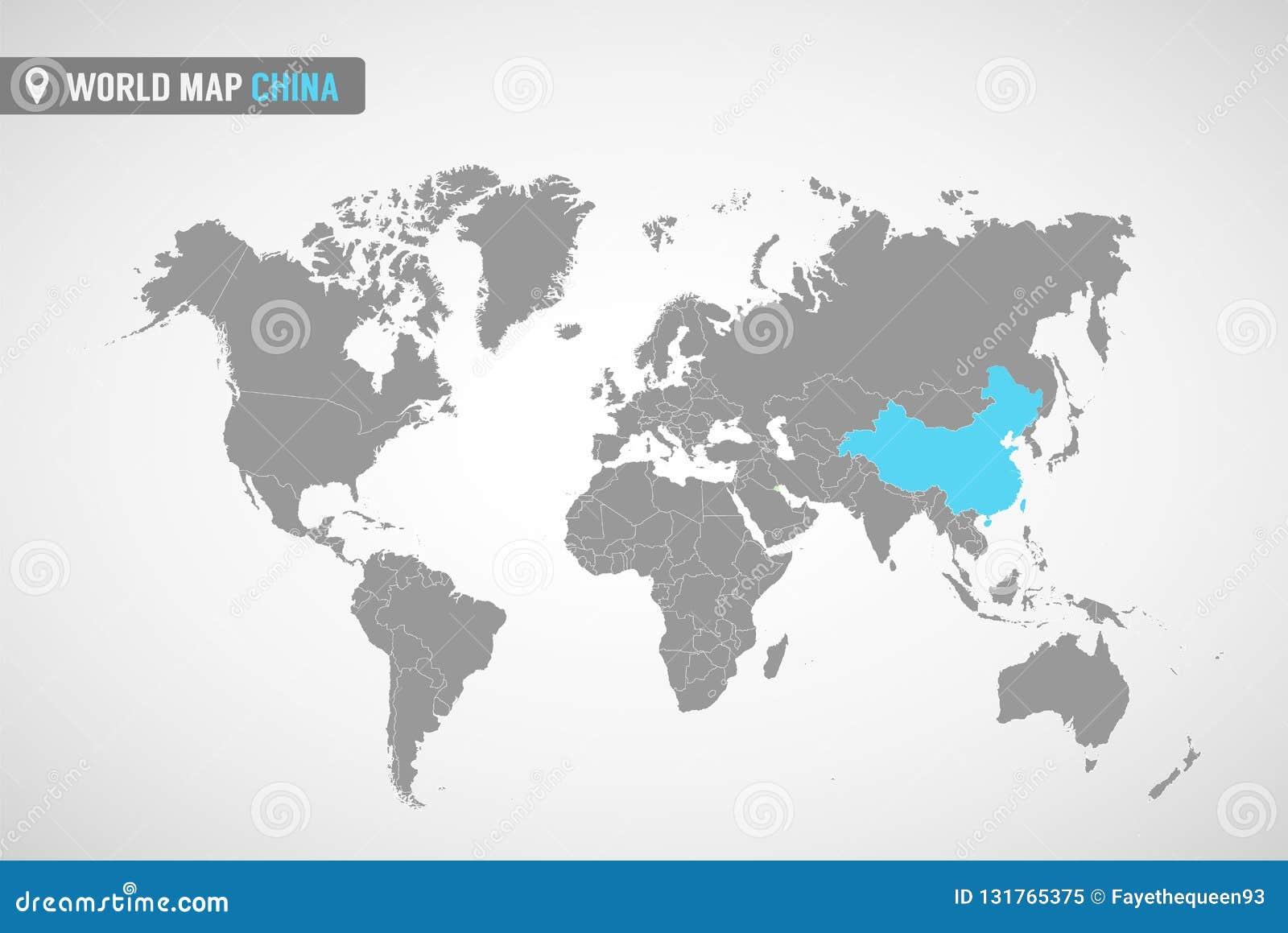 Världskarta med identicationen av Kina Översikt av Kina Politisk världskarta i grå färg Asien länder