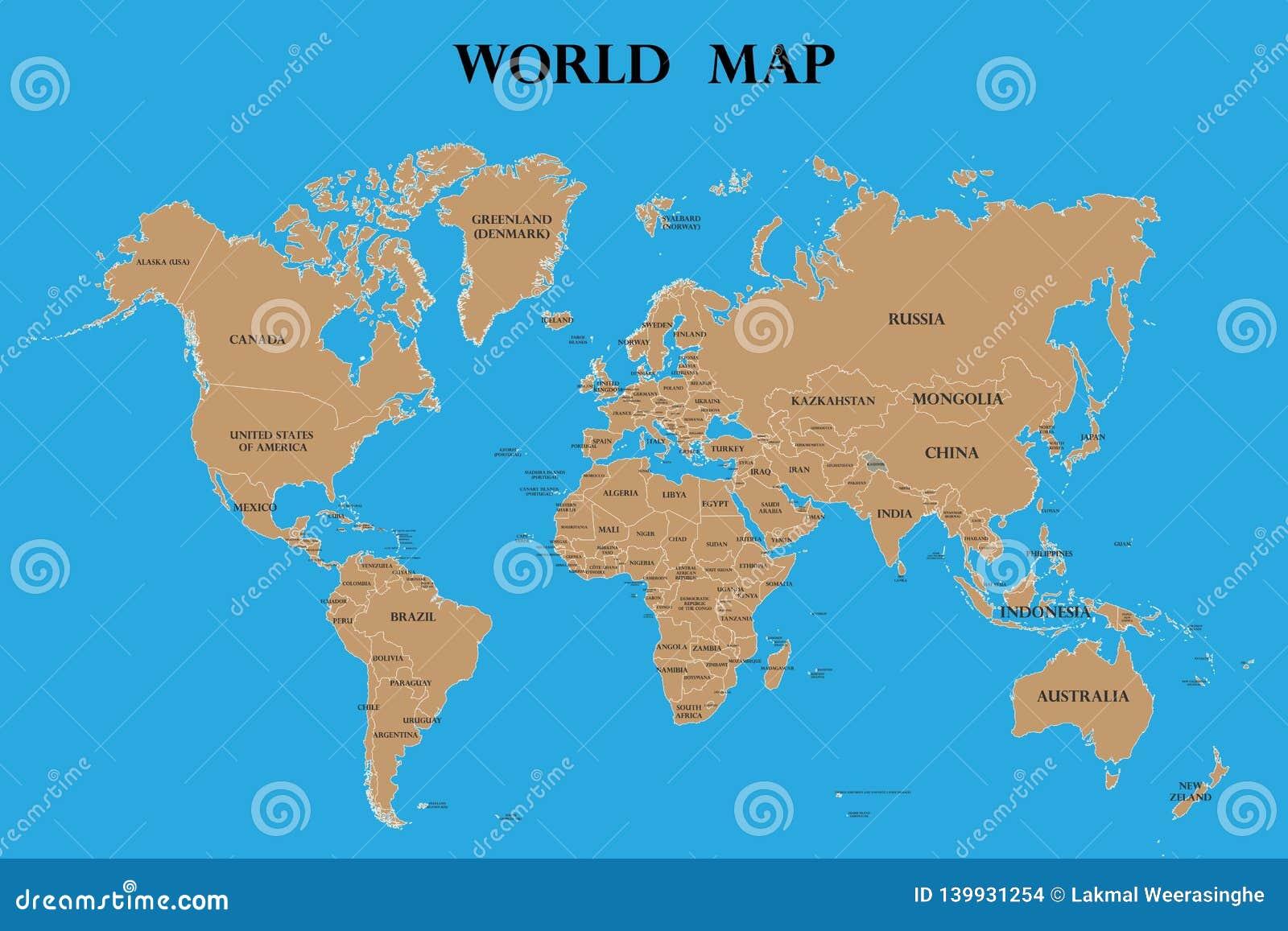 Världskarta med landsnamn
