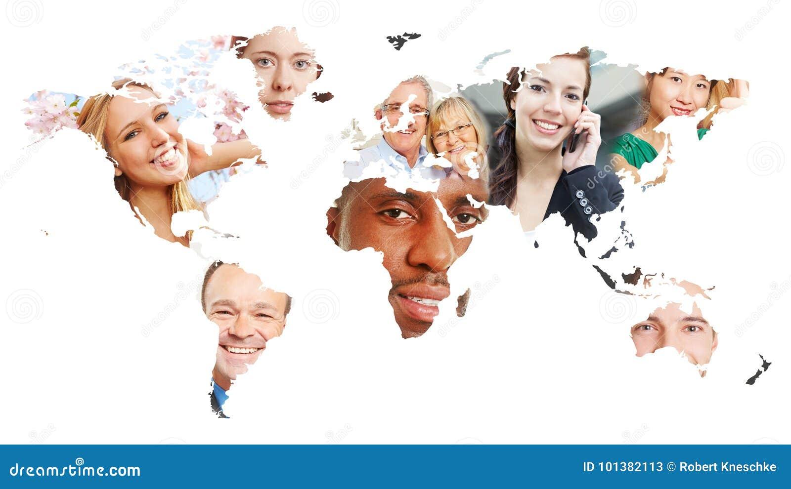 Världskarta med många personer