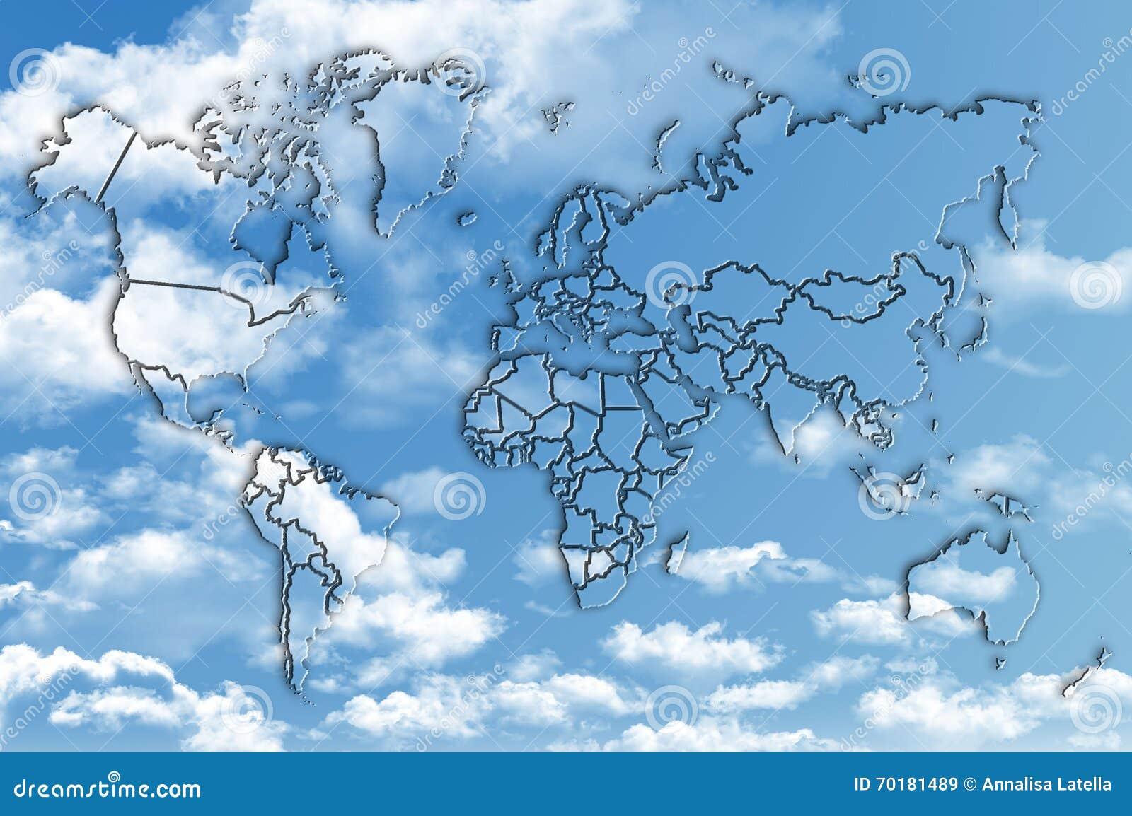 Världskarta på blå himmel med fluffiga moln