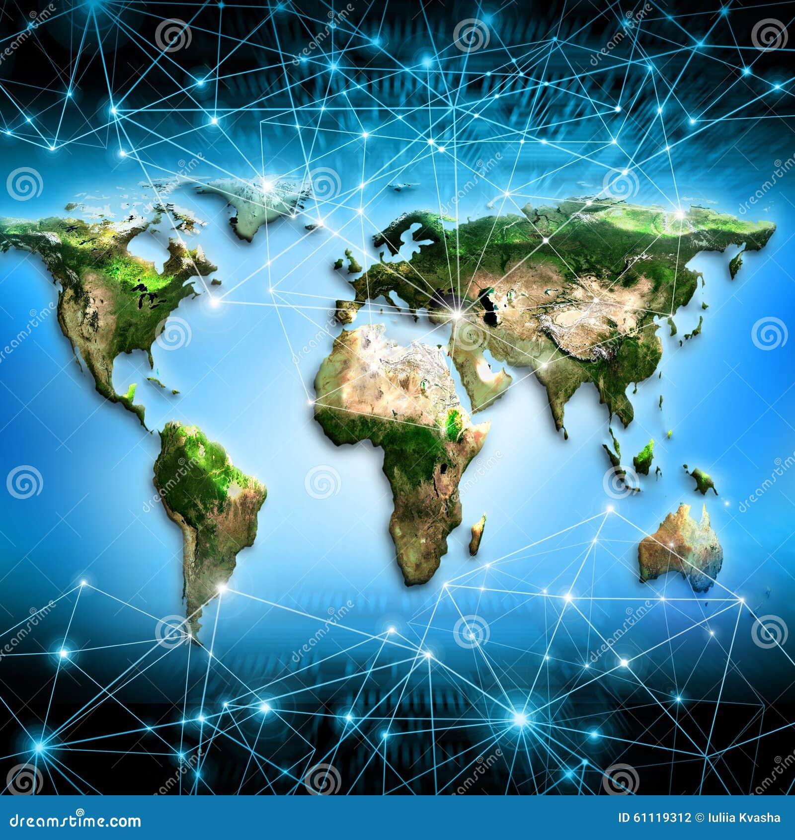 Världskarta på en teknologisk bakgrund bäst