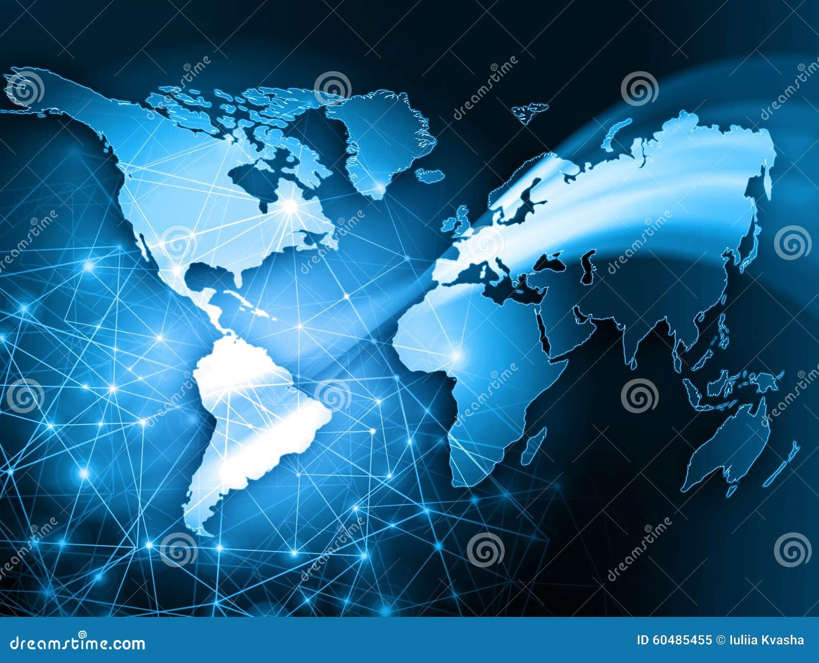 Världskarta på en teknologisk bakgrund som glöder