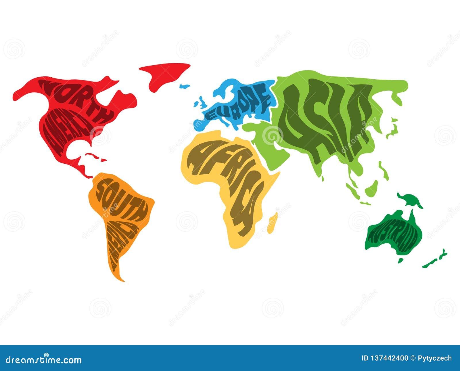 Världskartan delade in i sex kontinenter Namnet av varje kontinent slogg in in Förenklad vektorillustration