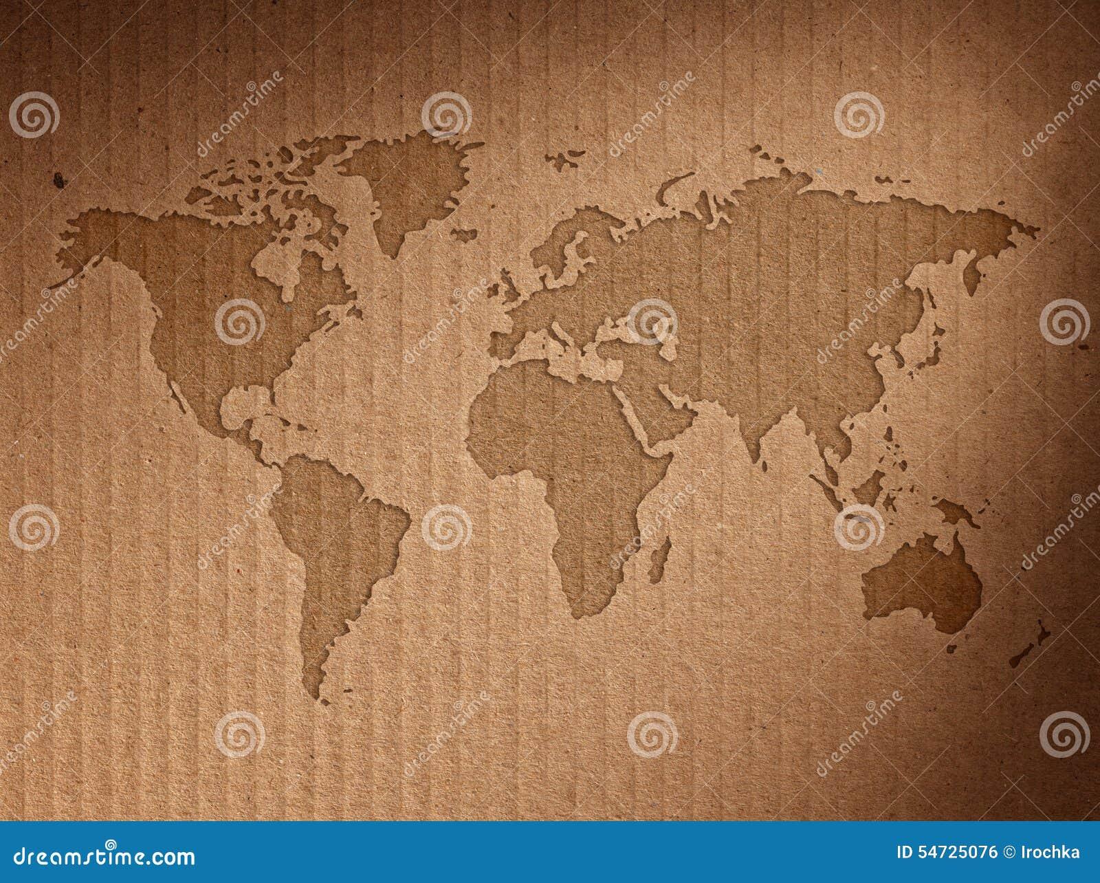 Världskartan visar wellpappen