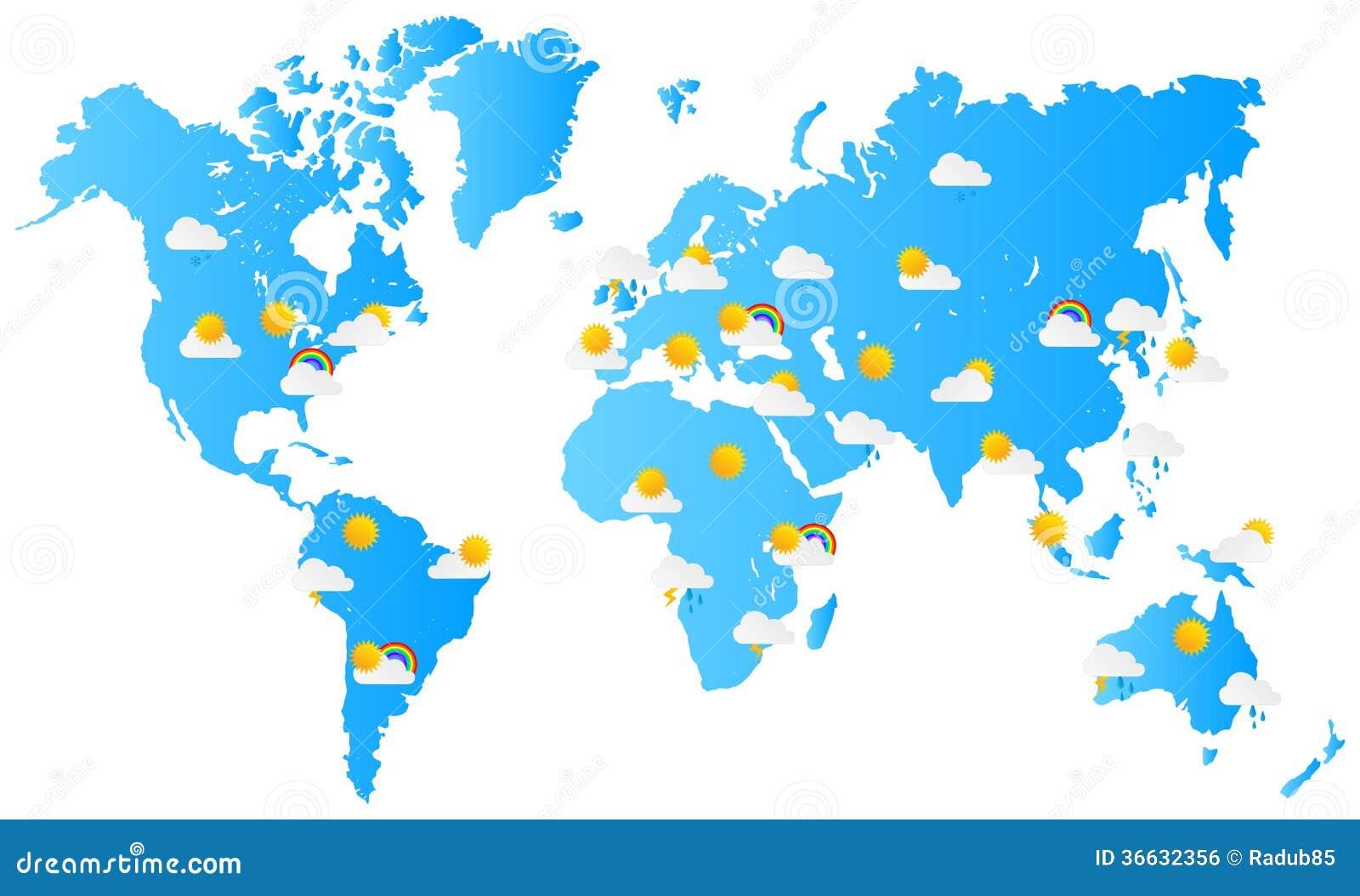 Världskartaväderprognos