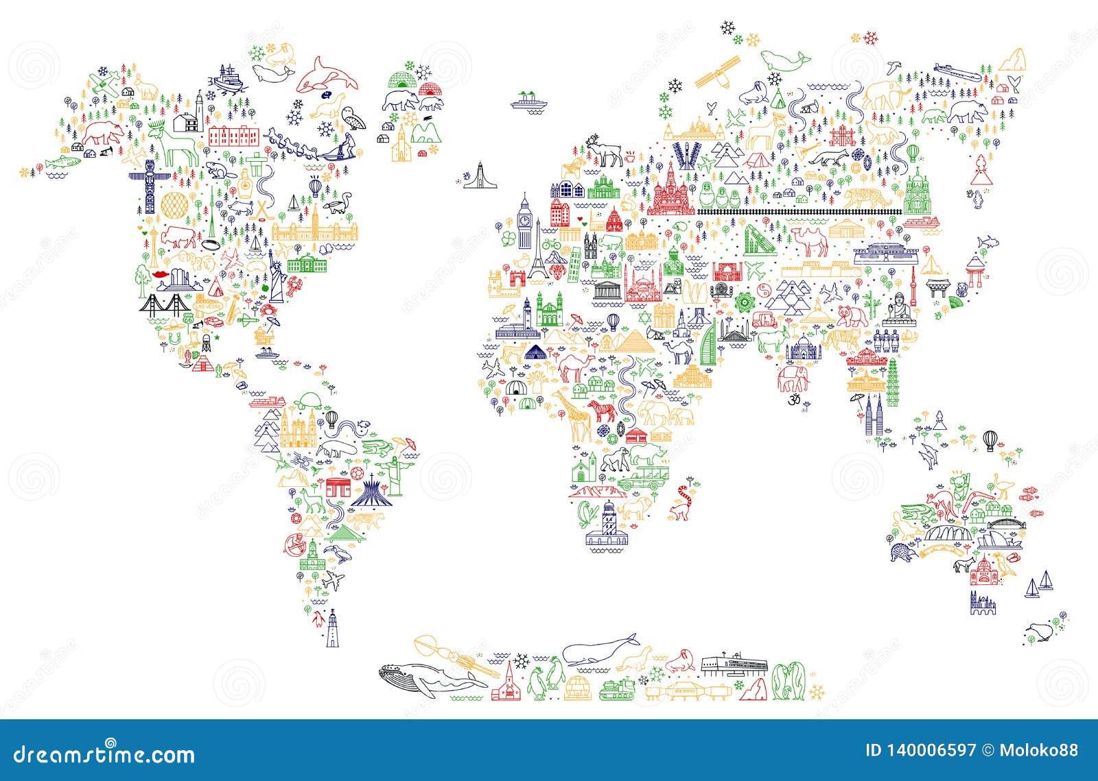 Världslopplinje symbolsöversikt Loppaffisch med djur och sightdragningar Inspirerande vektorillustration